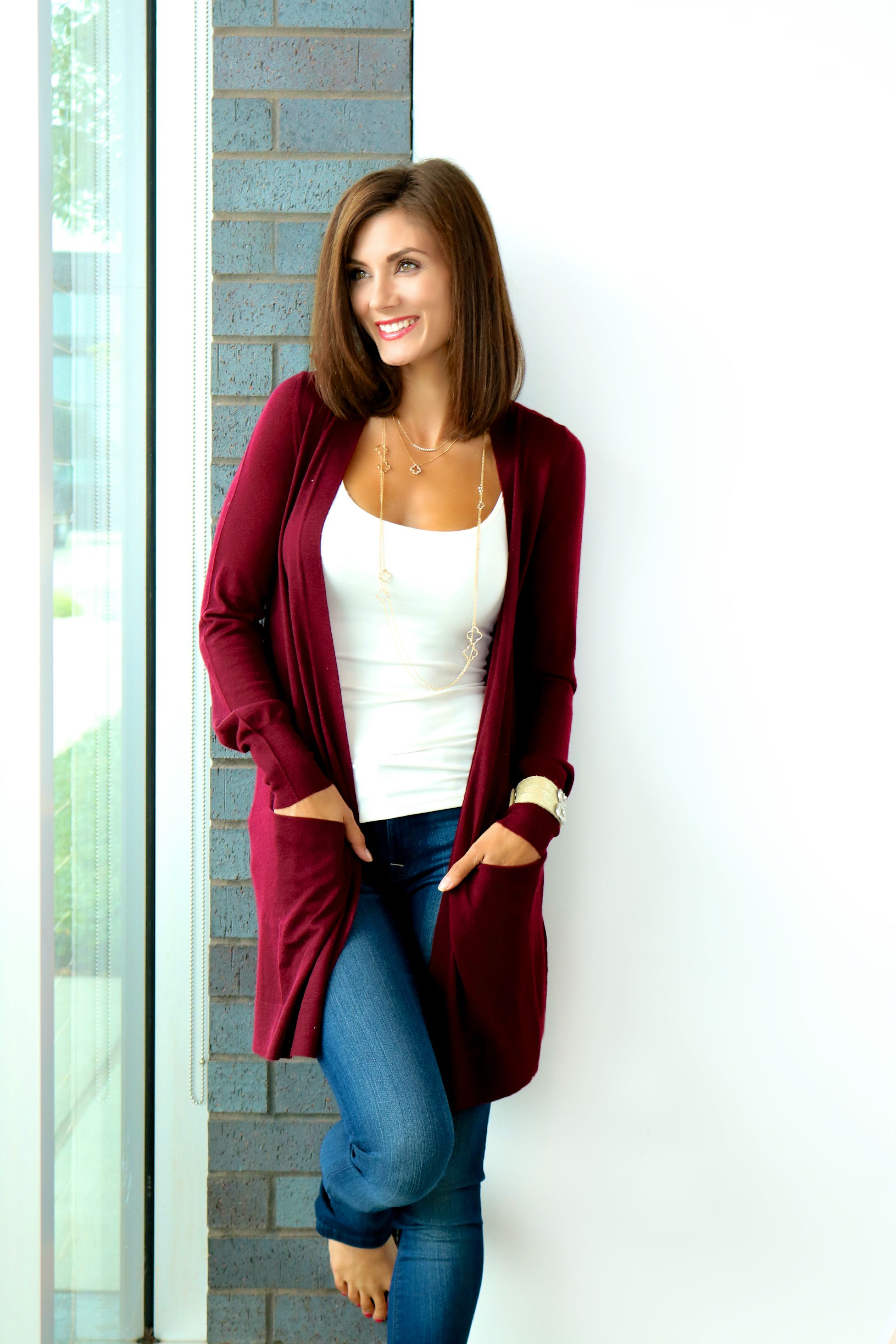 Christopher Fischer Open Front Cardigan &  DL1961 Florence Skinny Jeans in Prinia Available Online & In Store.