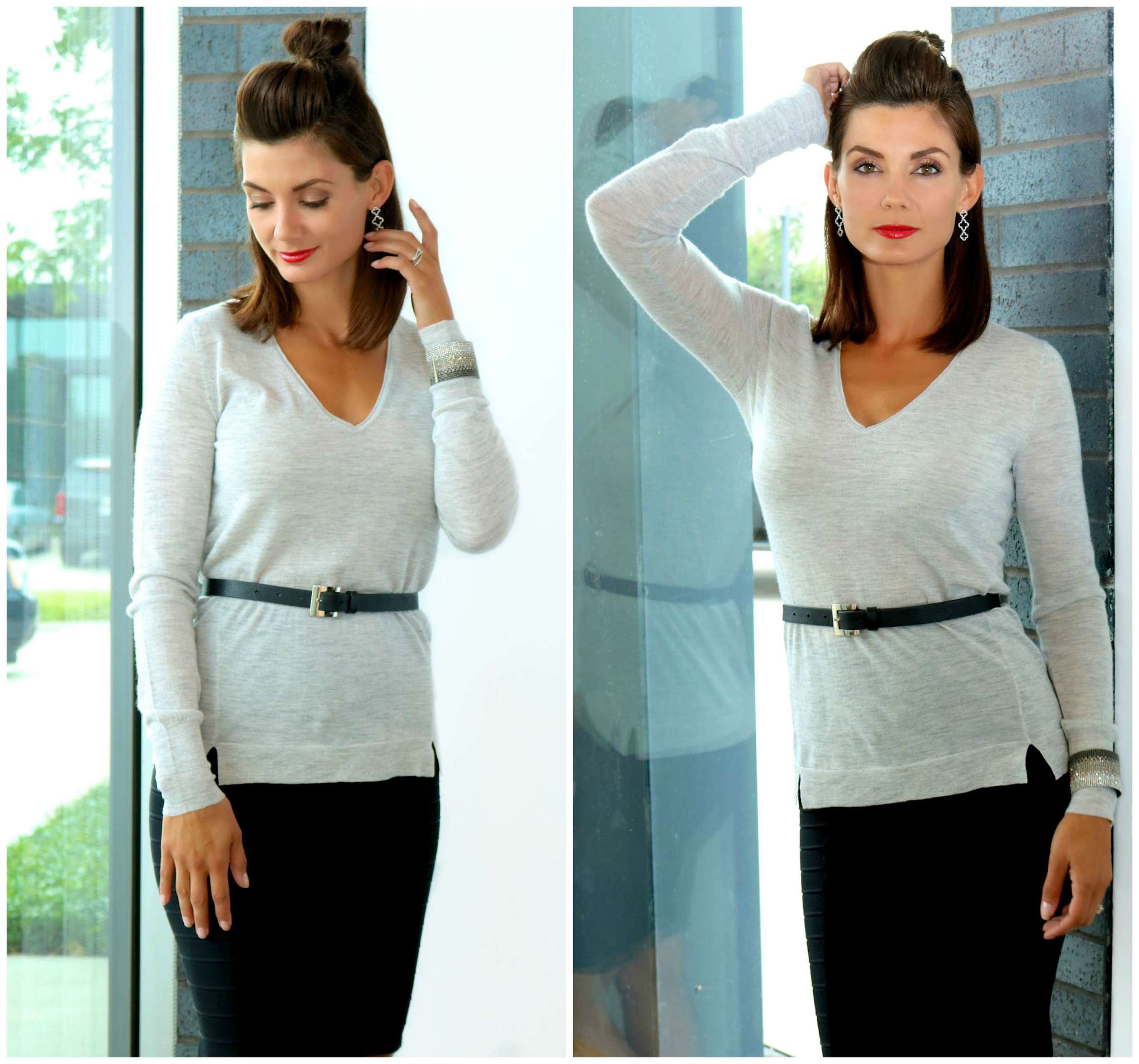 Christopher Fischer ANNABEL Cashmere V-Neck Sweater in Sparkler (also available in Black)