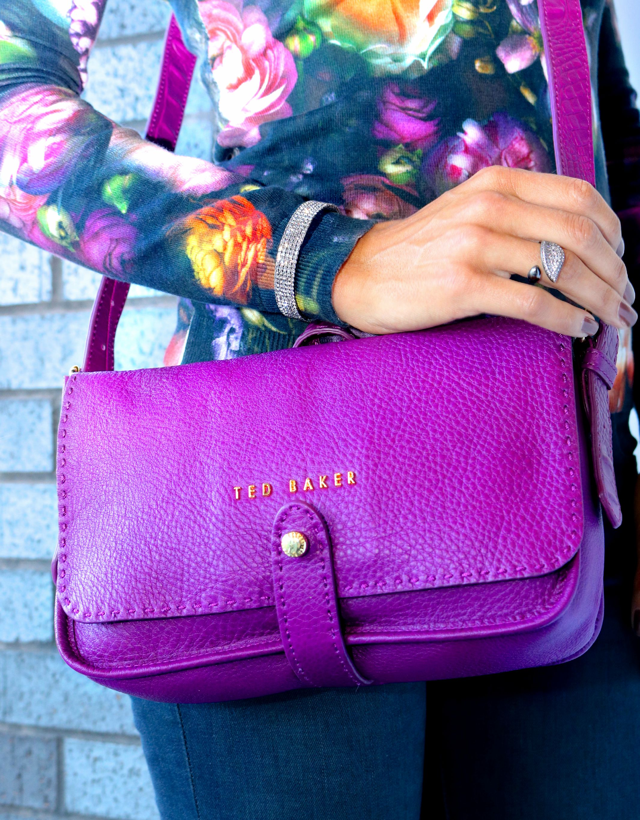 Ted Baker Gaiton Small Leather Crossbody Bag in Grape.  LIBERTÉ 5 Row CZ Bangle  and Leaf Ring in Gunmetal.