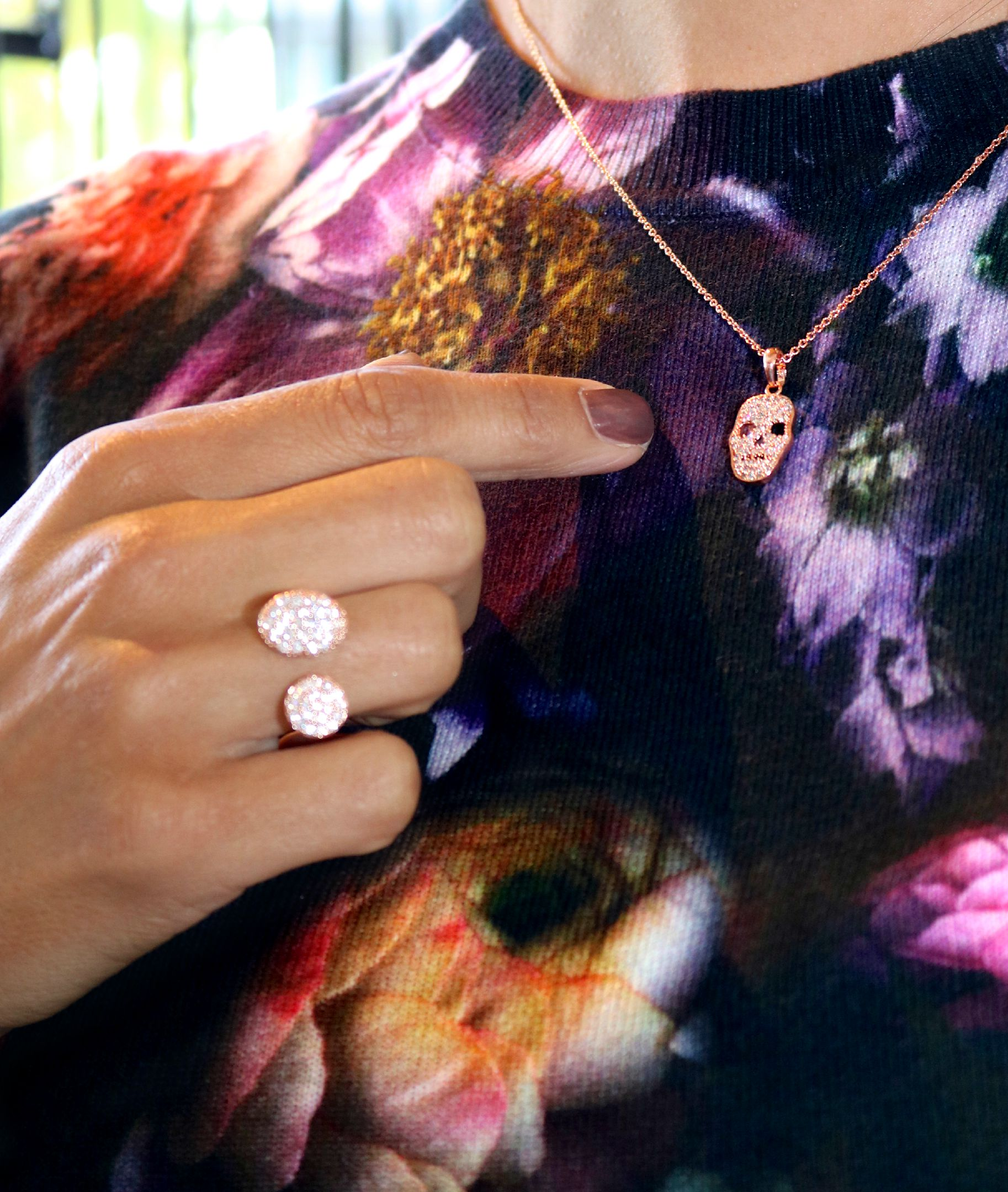 Sun & Moon Ring  and Pave Skull Necklace both in Rose Gold