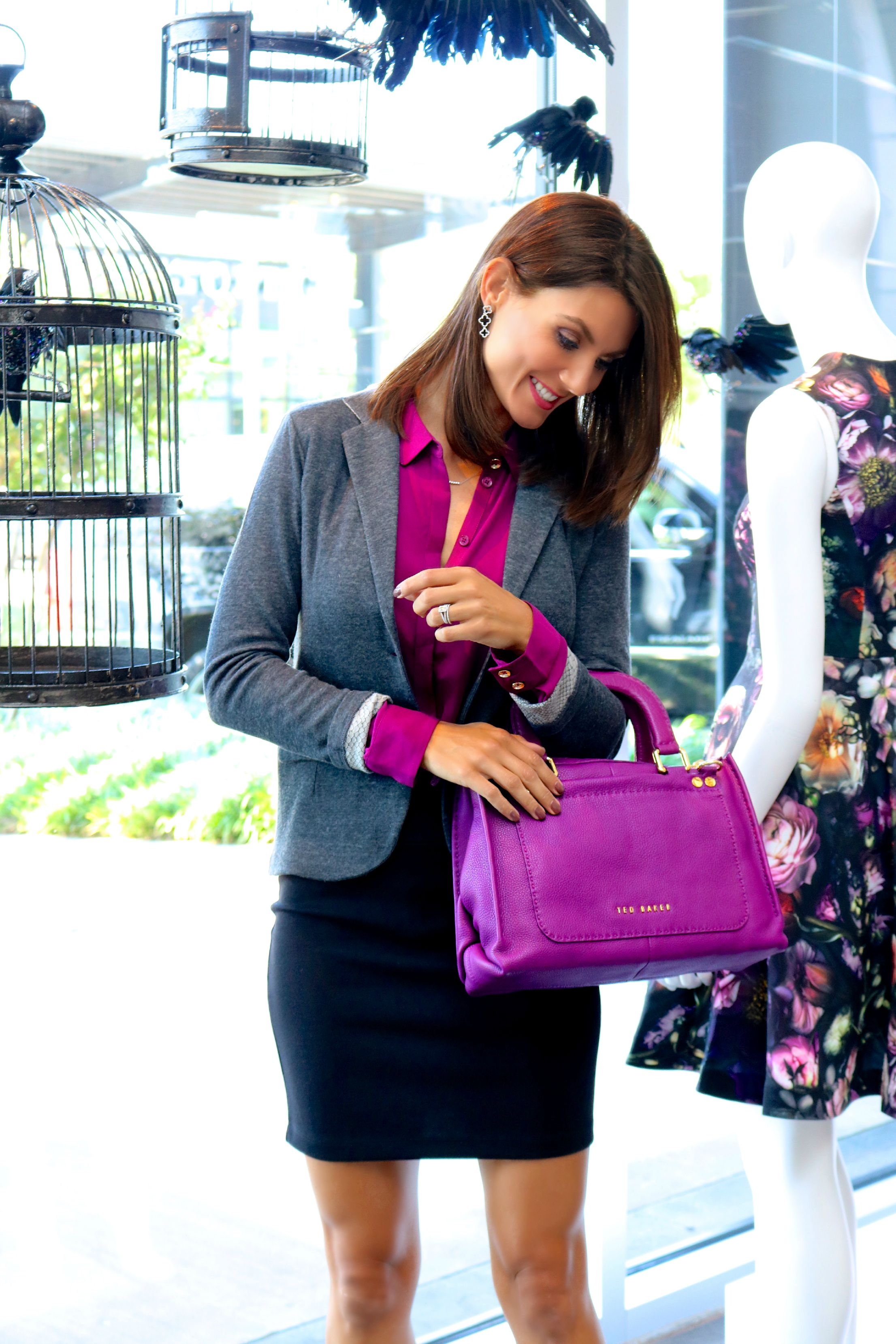 Majestic Python Printed Blazer in Anthracite, Ted Baker Tiona Chiffon Shirt in Grape, Only Hearts Mini Skirt in Black