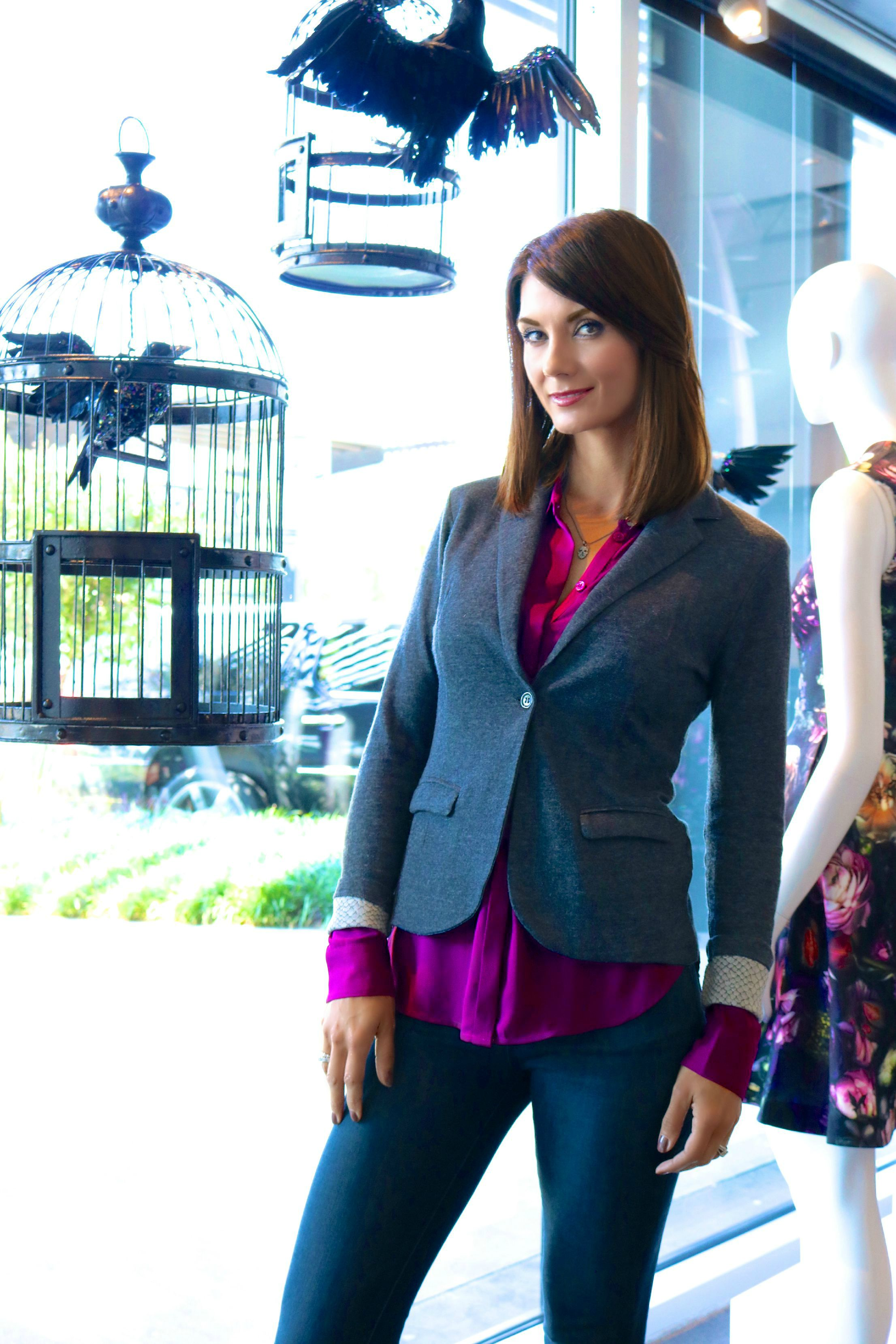 Majestic Python Printed Blazer in Anthracite & Ted Baker Blouse Available In Store Only