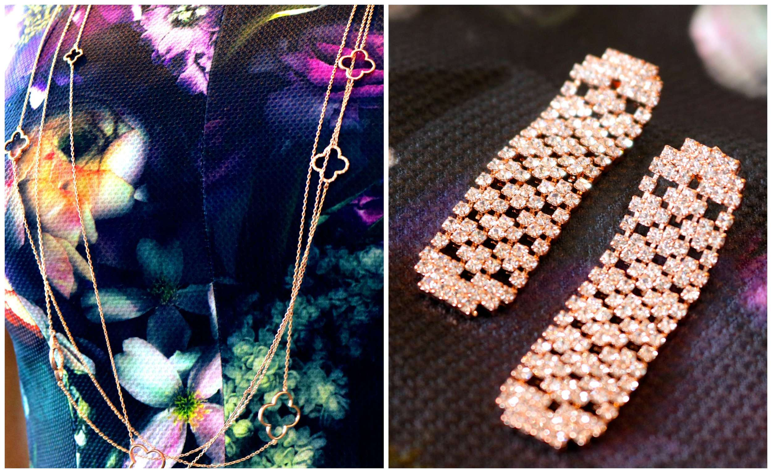 LIBERTÉ Open Clover Long Necklace & Linear Soft Drop Earrings in Rose Gold