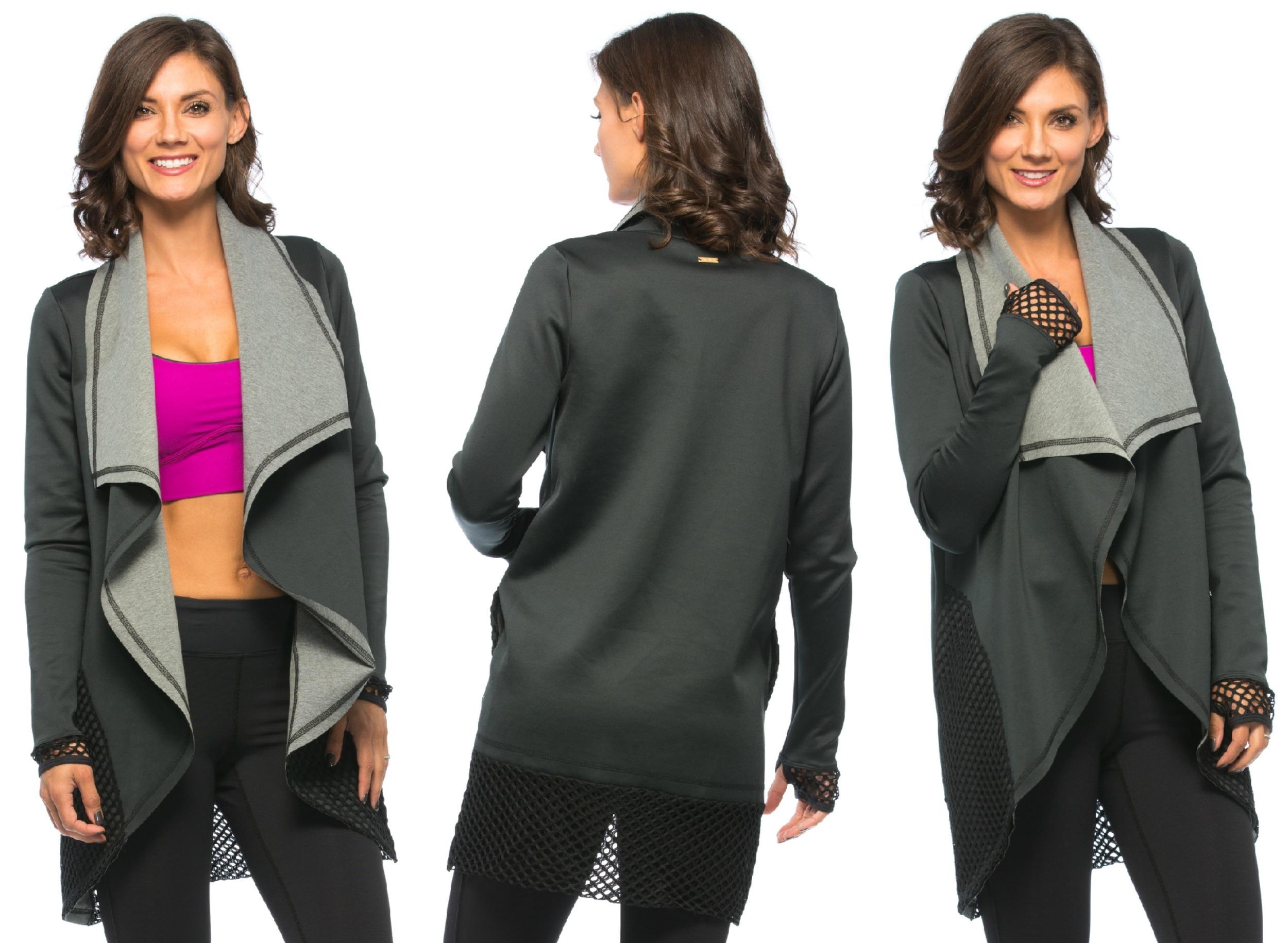 Neoprene Blanket Jacket, Black/Grey  and  Cut Cami Bra, Magenta