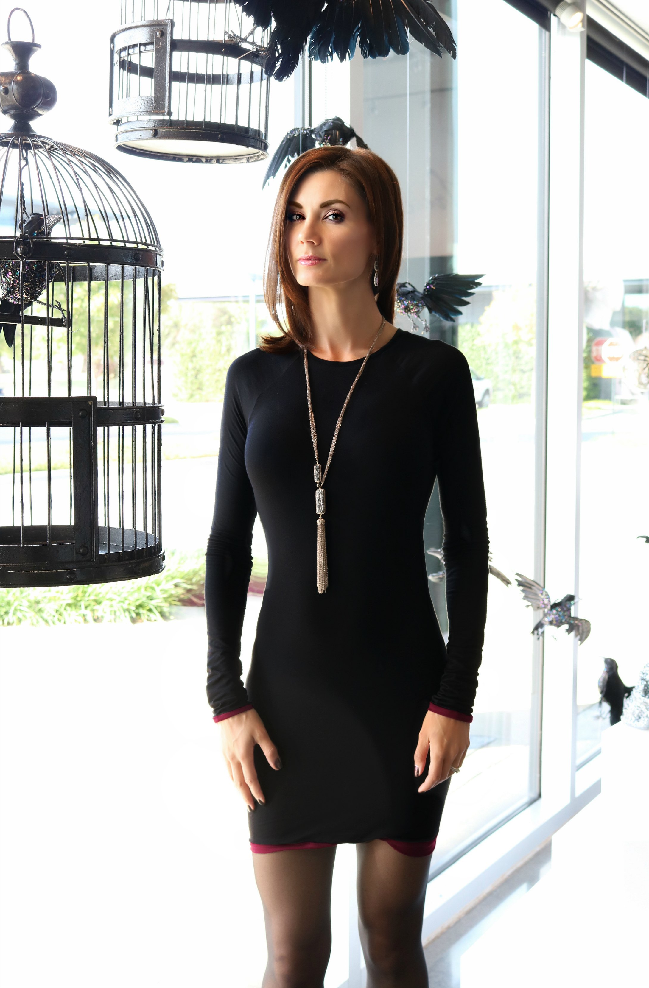 Karonlina Zmarlak Reversible Tunic/Dress Available Online  and Tassel Necklace in Antique Gold and Gunmetal