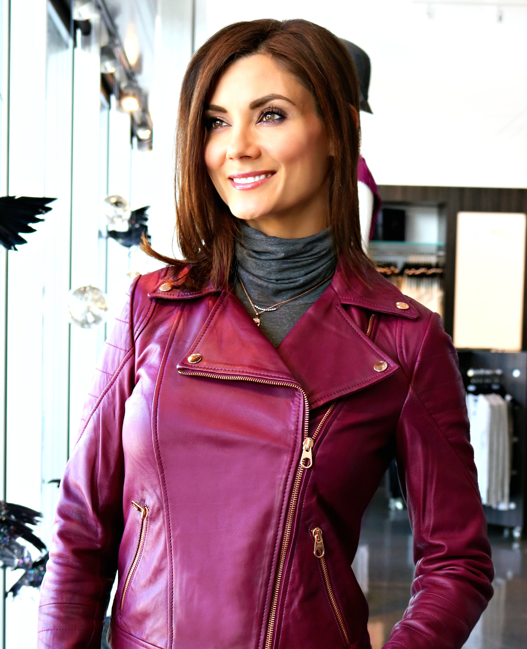 Ted Baker Leather Biker Jacket in Grape Available In Store Only