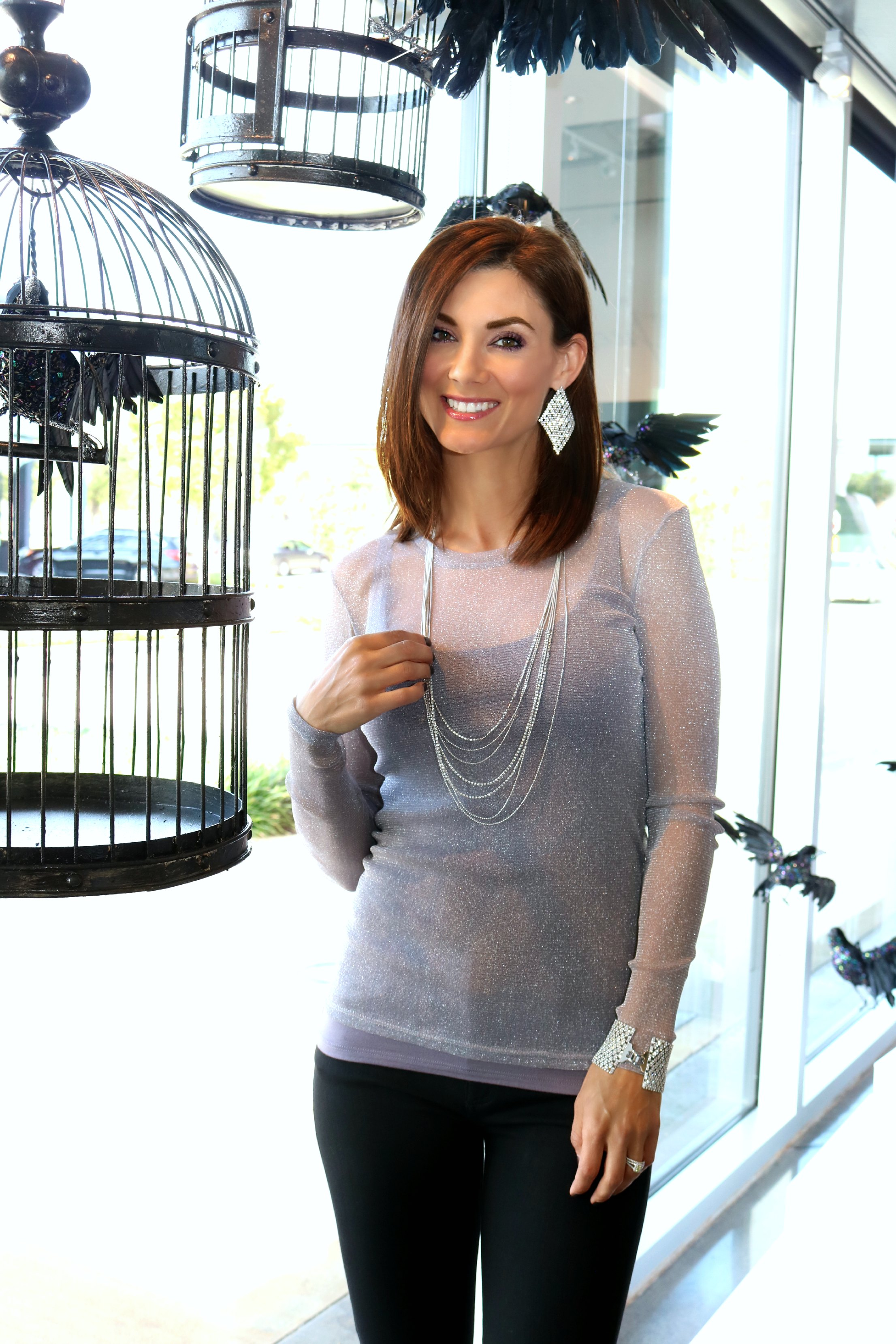 Only Hearts Glitter Shimmer Long Sleeve and  Only Heart So Fine Skinny Tank in Smoked Tea ,  Diamond Shaped Chandelier earrings in white gold .
