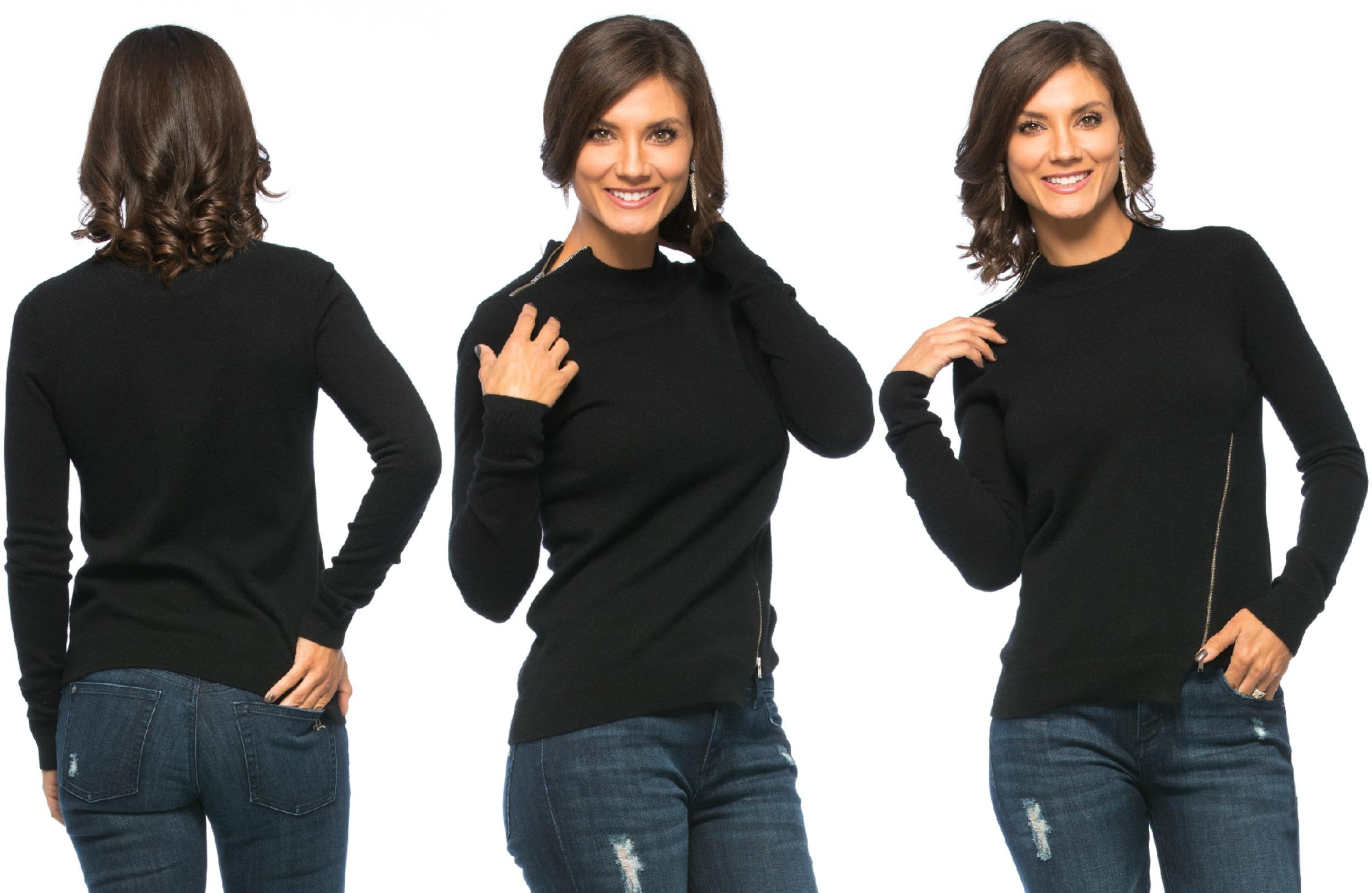 Christopher Fischer AIRA Zipper Detail Cashmere Sweater