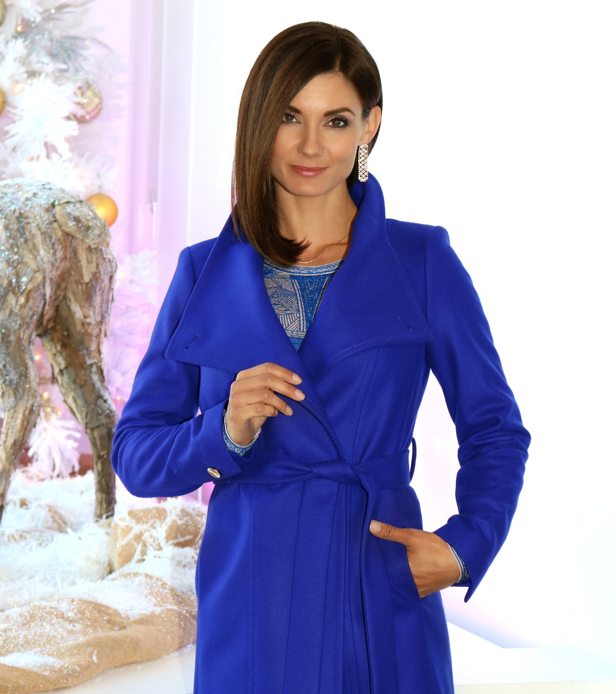 Ted Baker Lorili Long Wool Wrap Coat in Blue, Available In Store Only - Hurry! It's on sale!