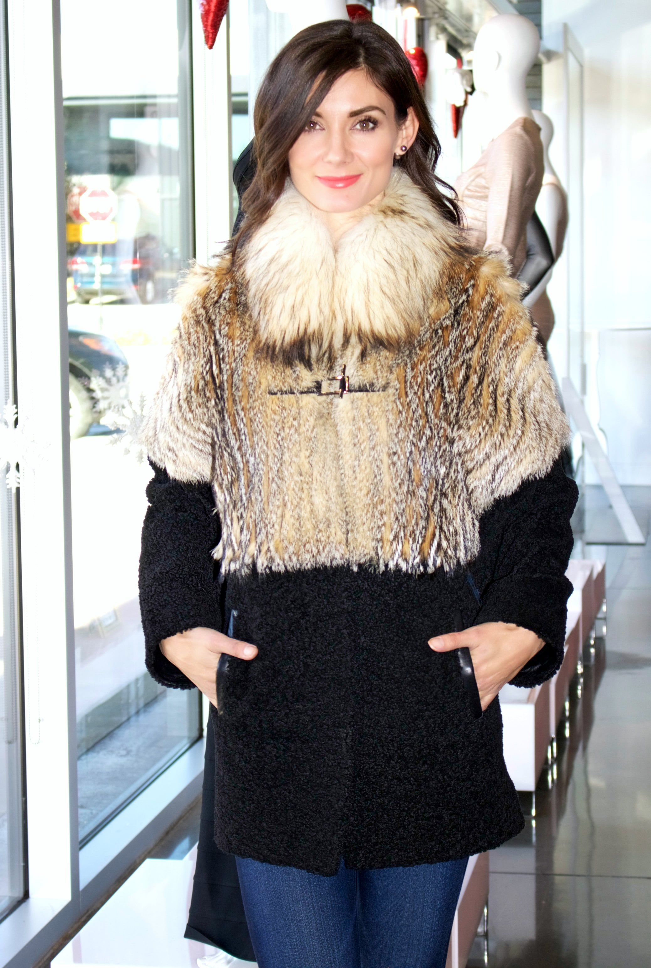 Jo Peters Grey Fox &Shearling Coat with removable sleeves- a Semi Annual Sale Item!