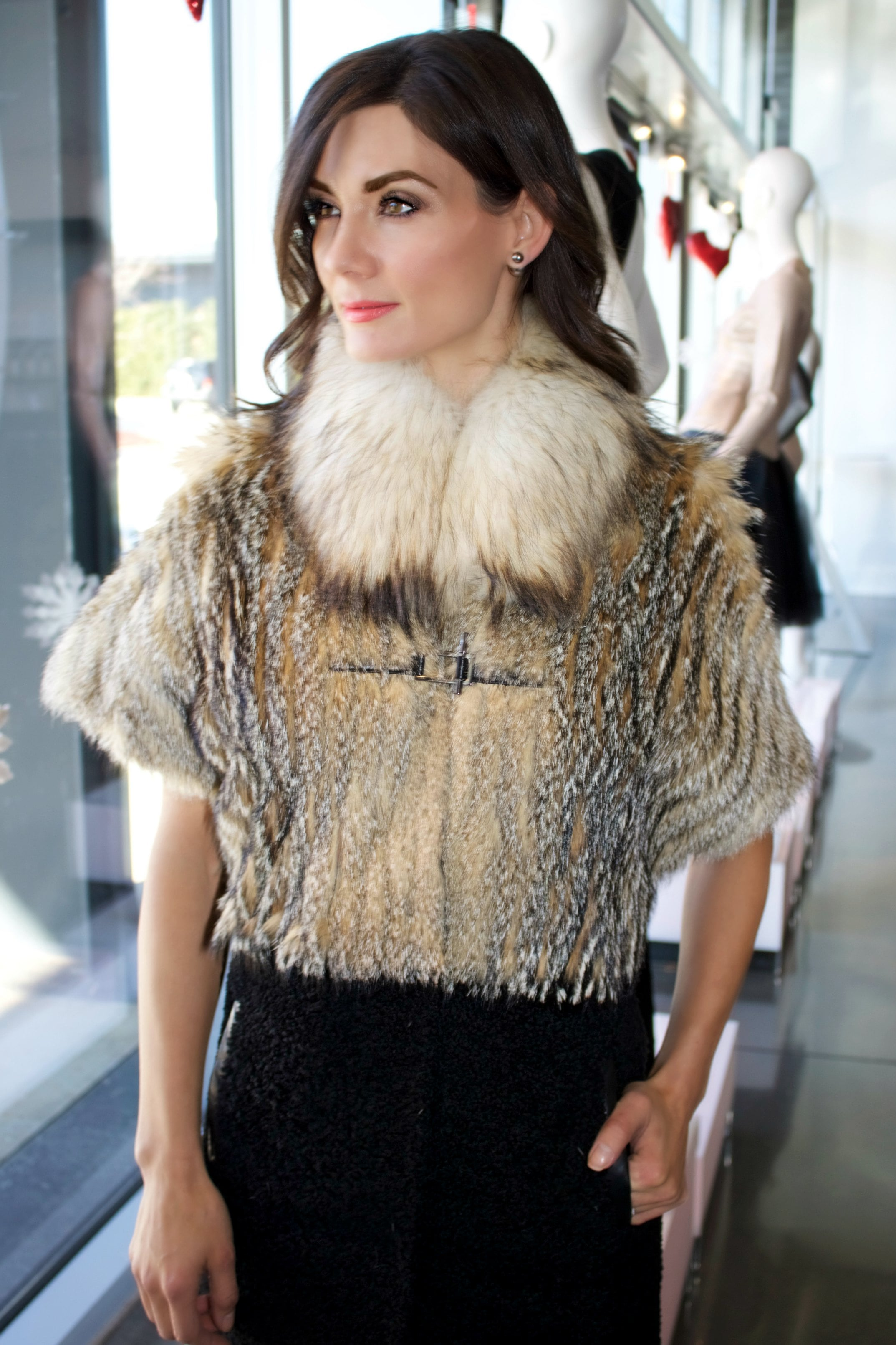 Jo Peters Grey Fox & Shearling Coat shown sleeveless. Drop by or call for sale price!