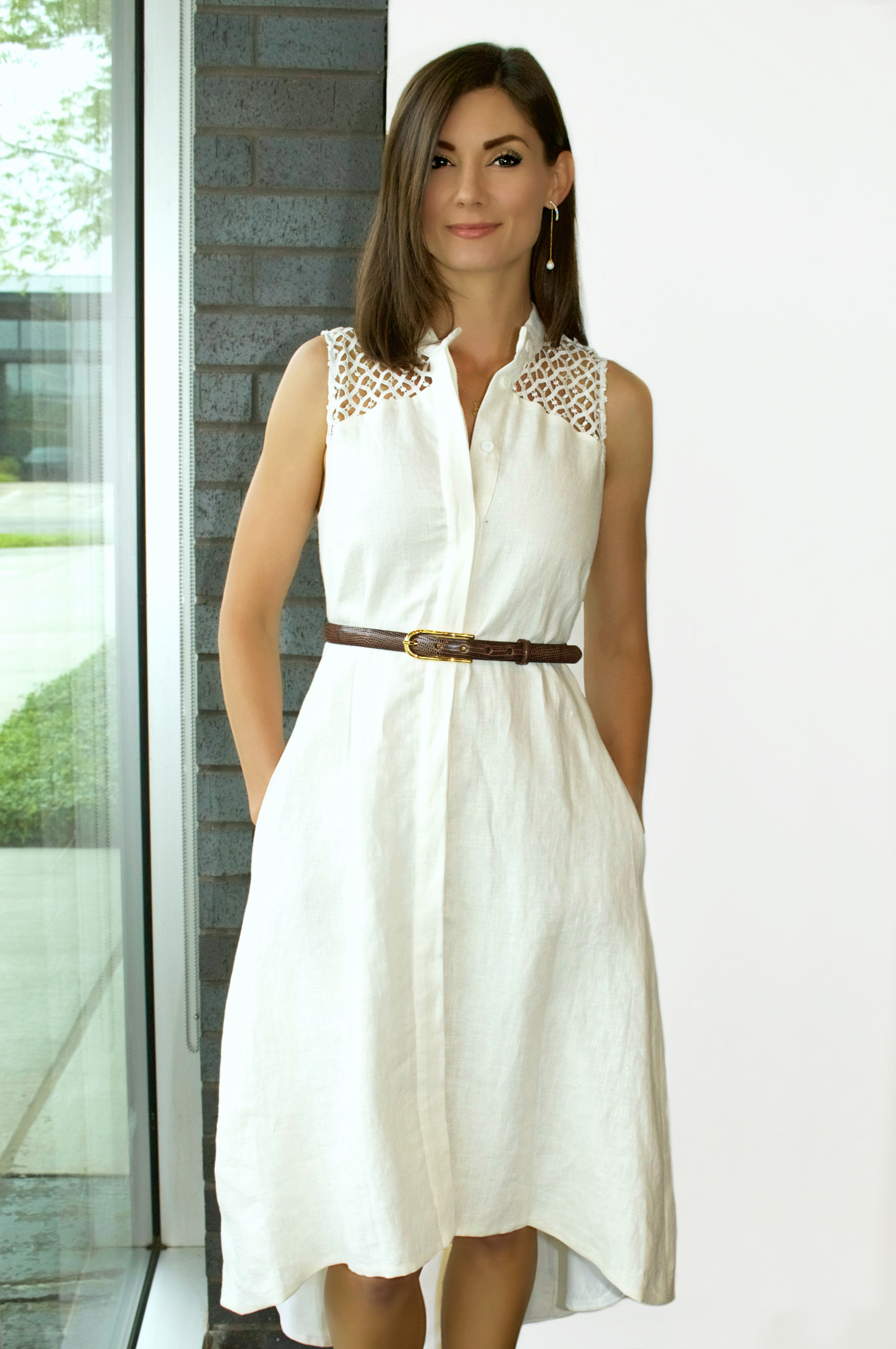 Staci Snider Linen Shirtdress Available In Store Only