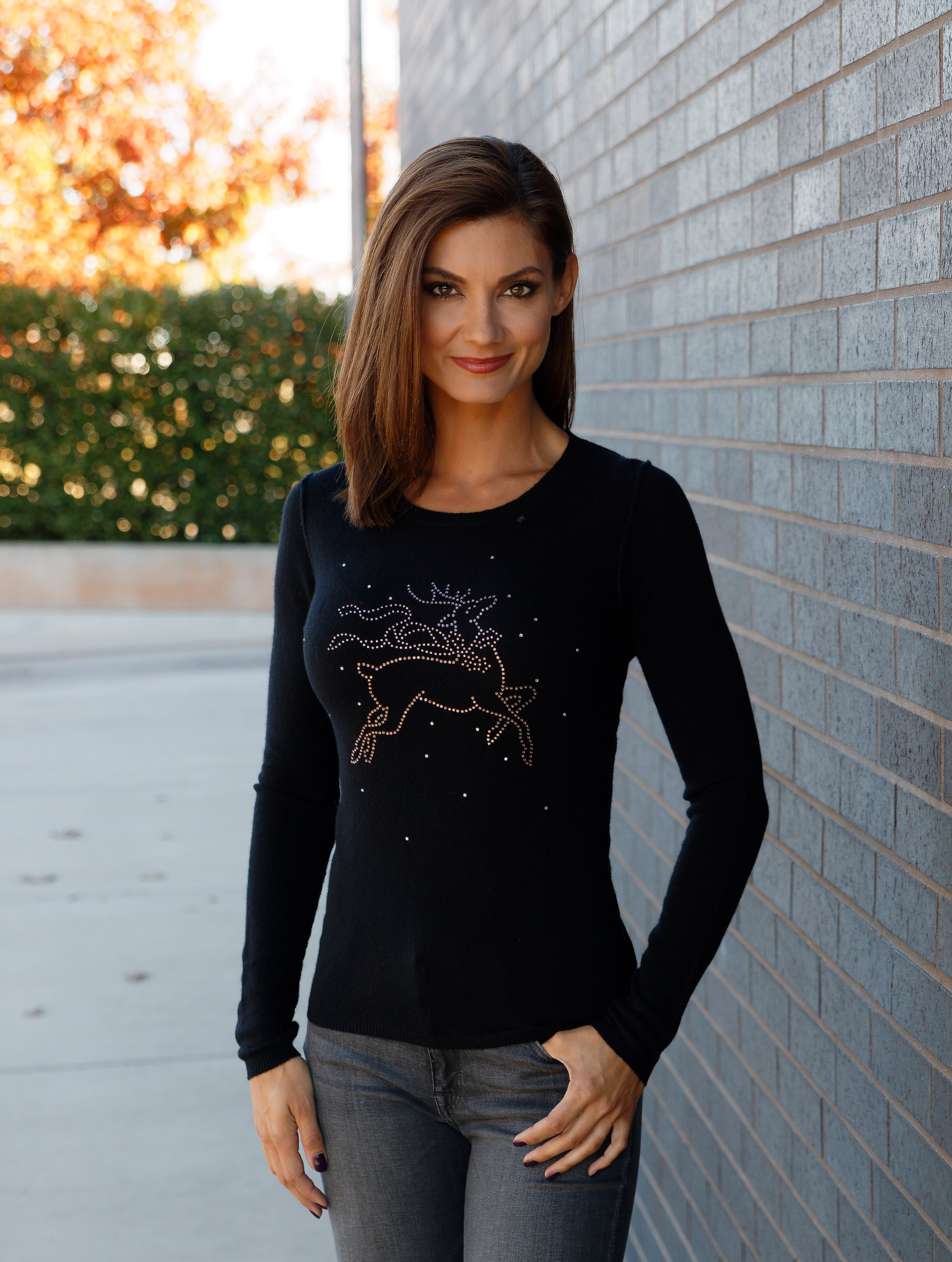 12 Gauge Studded Reindeer Sweater in Black