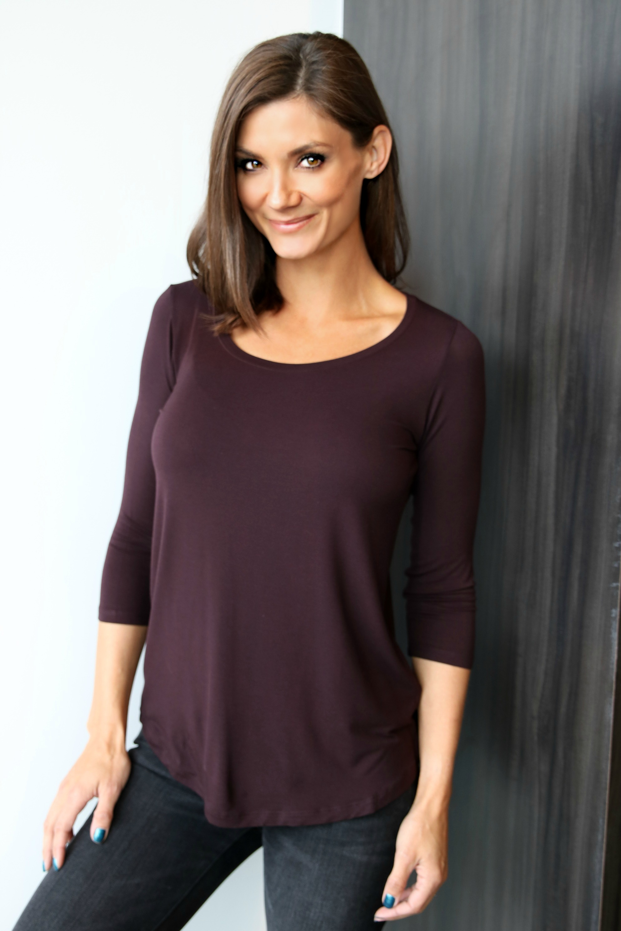 Soft Touch 3/4 Sleeve Oversize Scoopneck in Aubergine