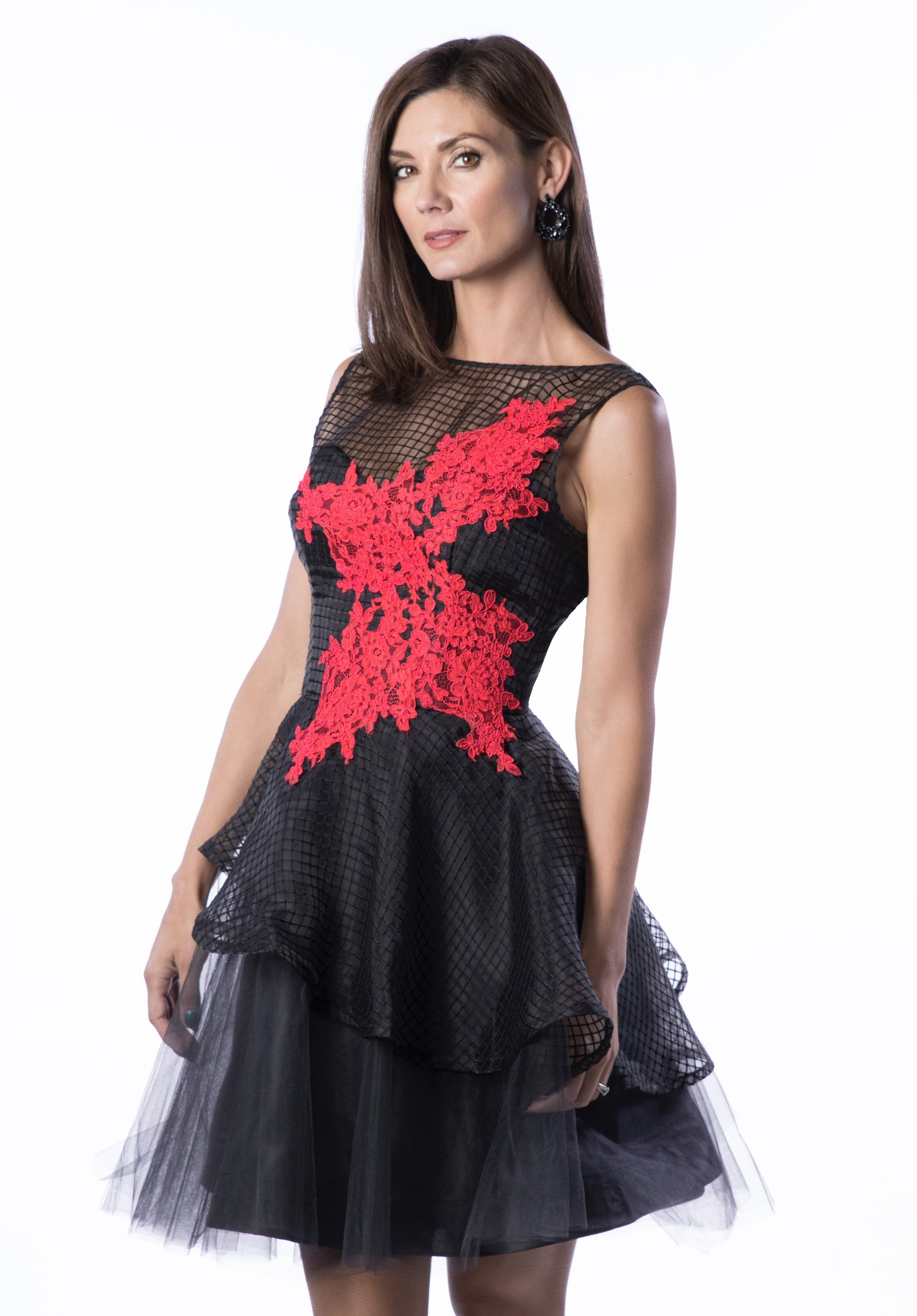 Andrea Tiered Fit-&-Flare Dress, Black/Red- $545