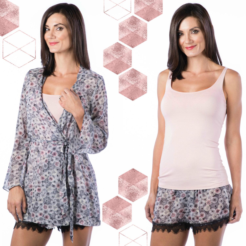 Pink Moon Short Robe // $195;Pink Moon Sleep Shorts //$65;SoFine Skinny Tank in Nudie //$43