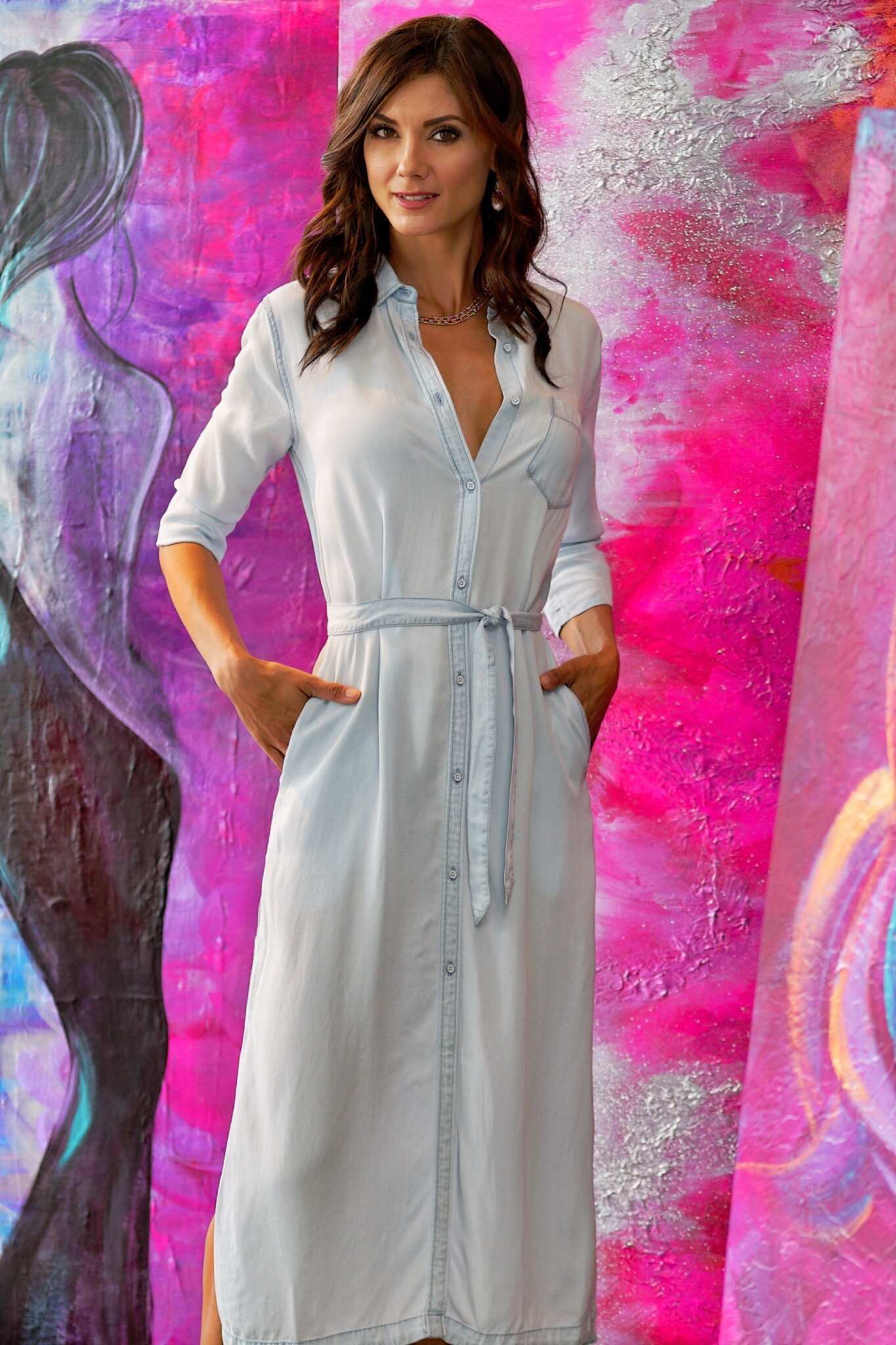 The Blue Shirt Shop- Fire Island Maxi Dress, Bleached- Available in store
