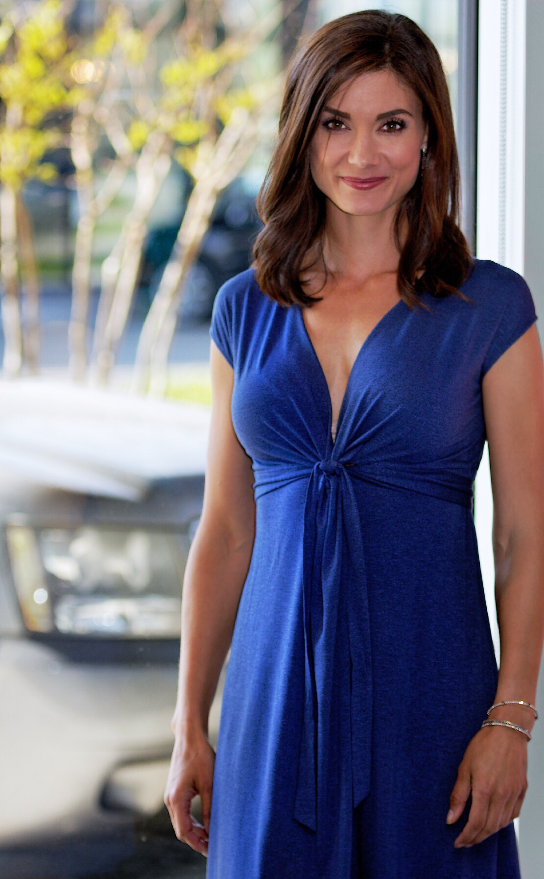 Only Hearts V-Neck Tie Front Dress, Lapis Stone-Available in store.