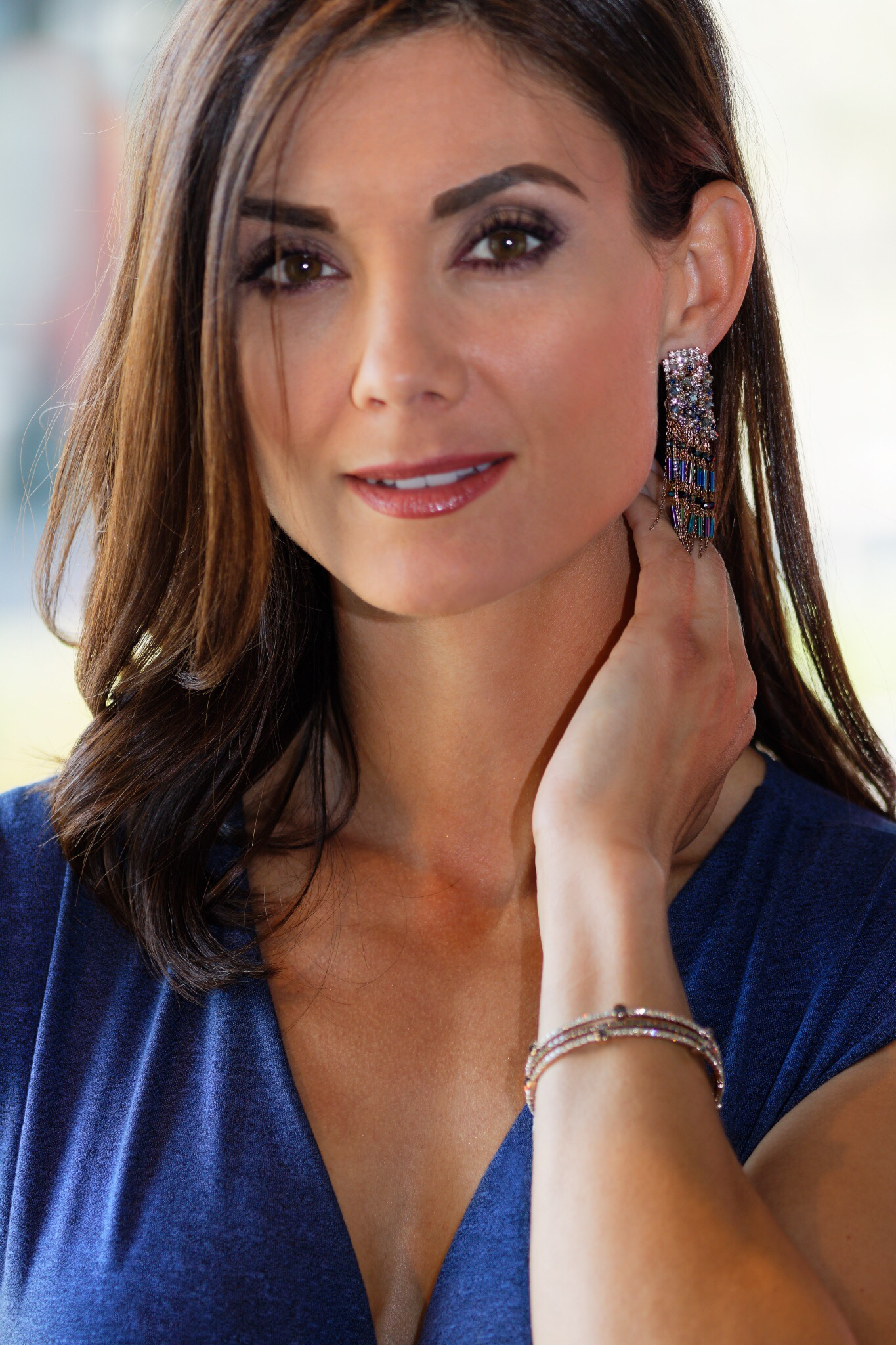 Contemporary Statement Earrings w/ Swarovski Crystals, Antique Gold, O/S-Available in store.