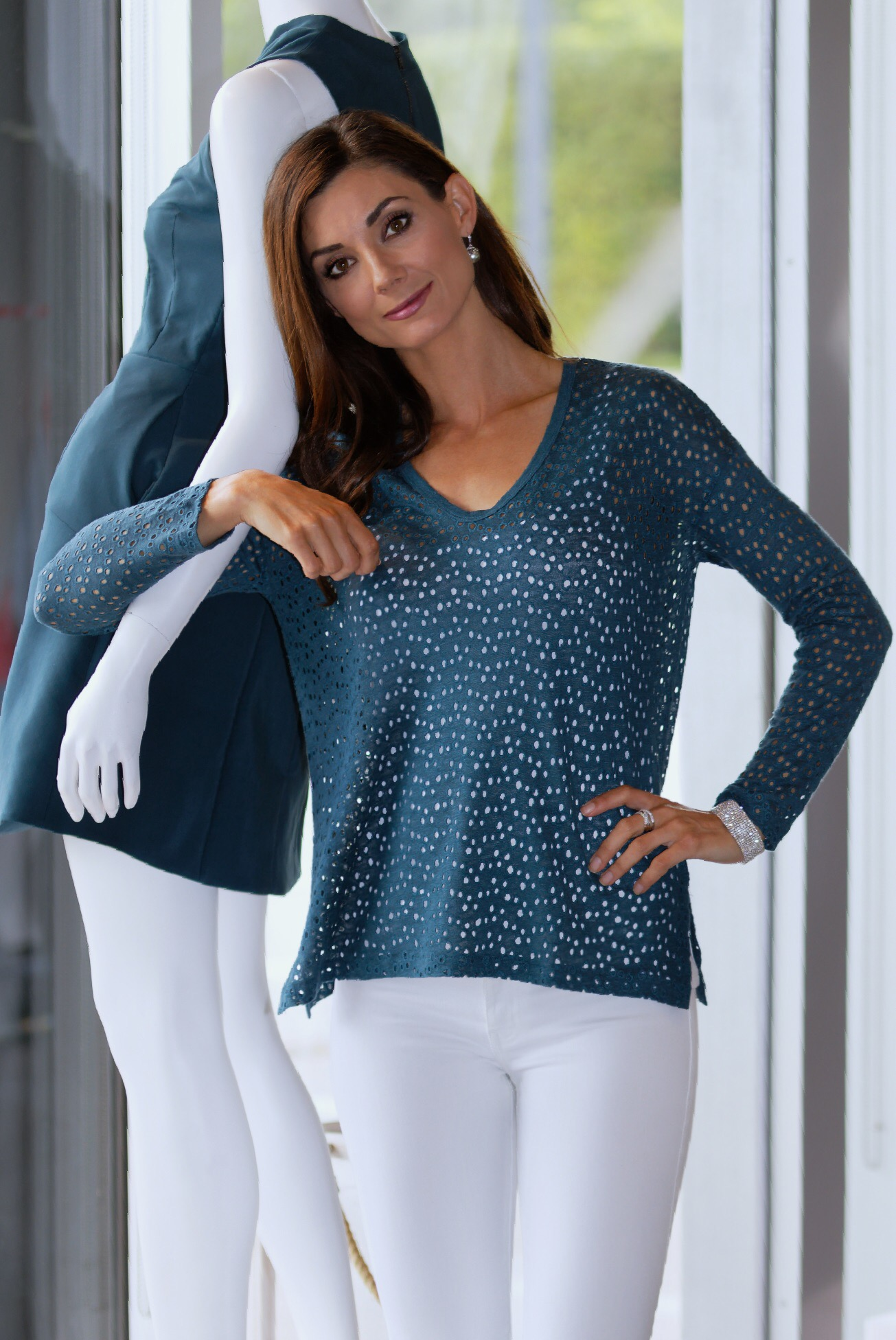 Majestic Linen Eyelet V-Neck, Pacific Blue-Available in store.