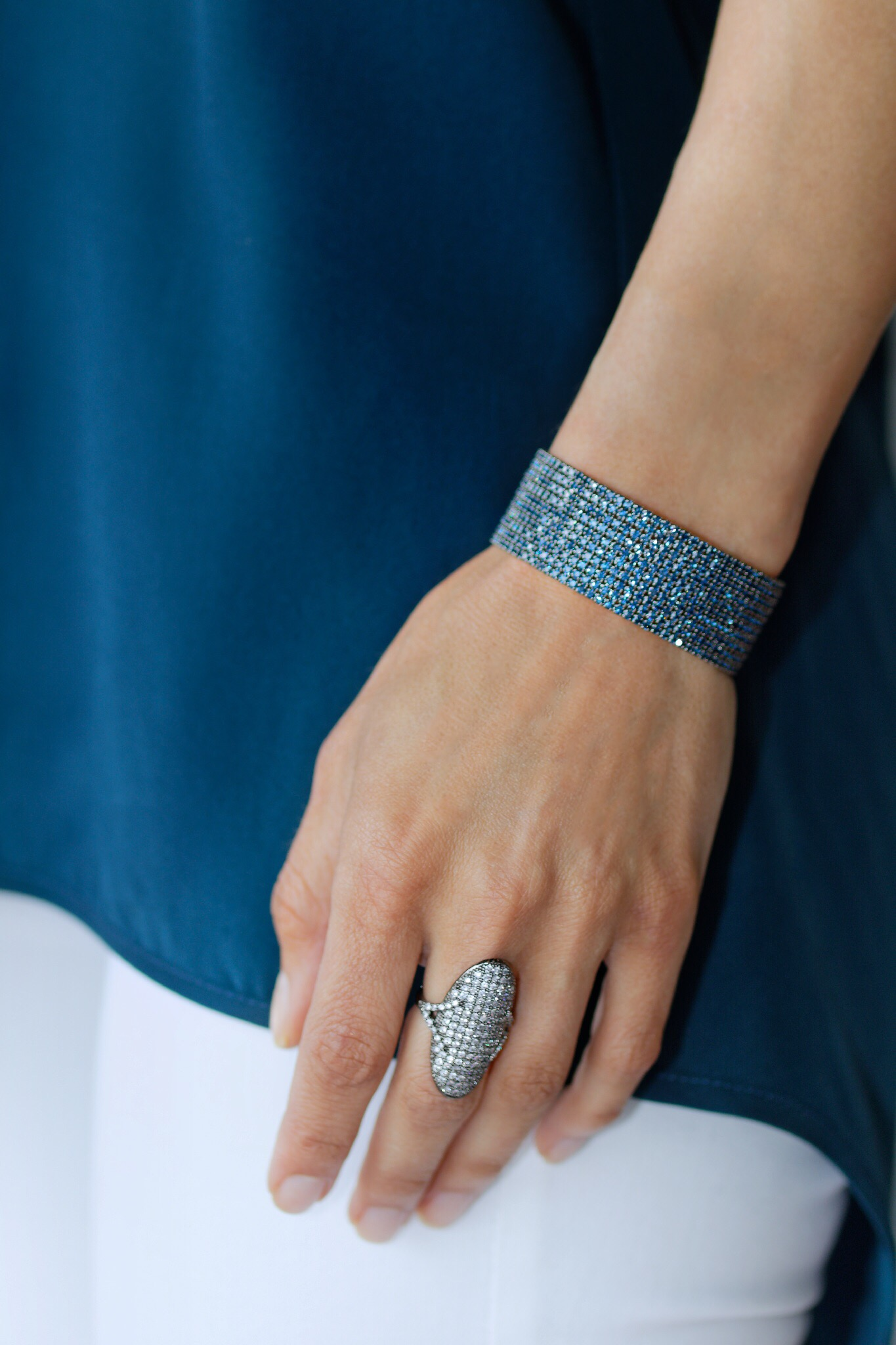 10 Row CZ Bangle, Blue  Adj. Oval Micropave Ring, Gunmetal  Available in store.