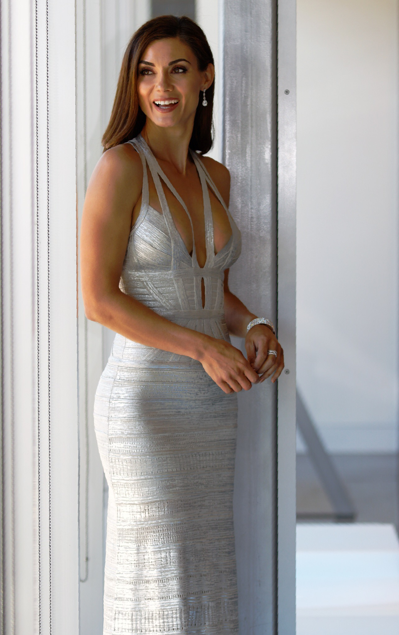 Madeleine Long Gown, Silver Combo- Herve Leger