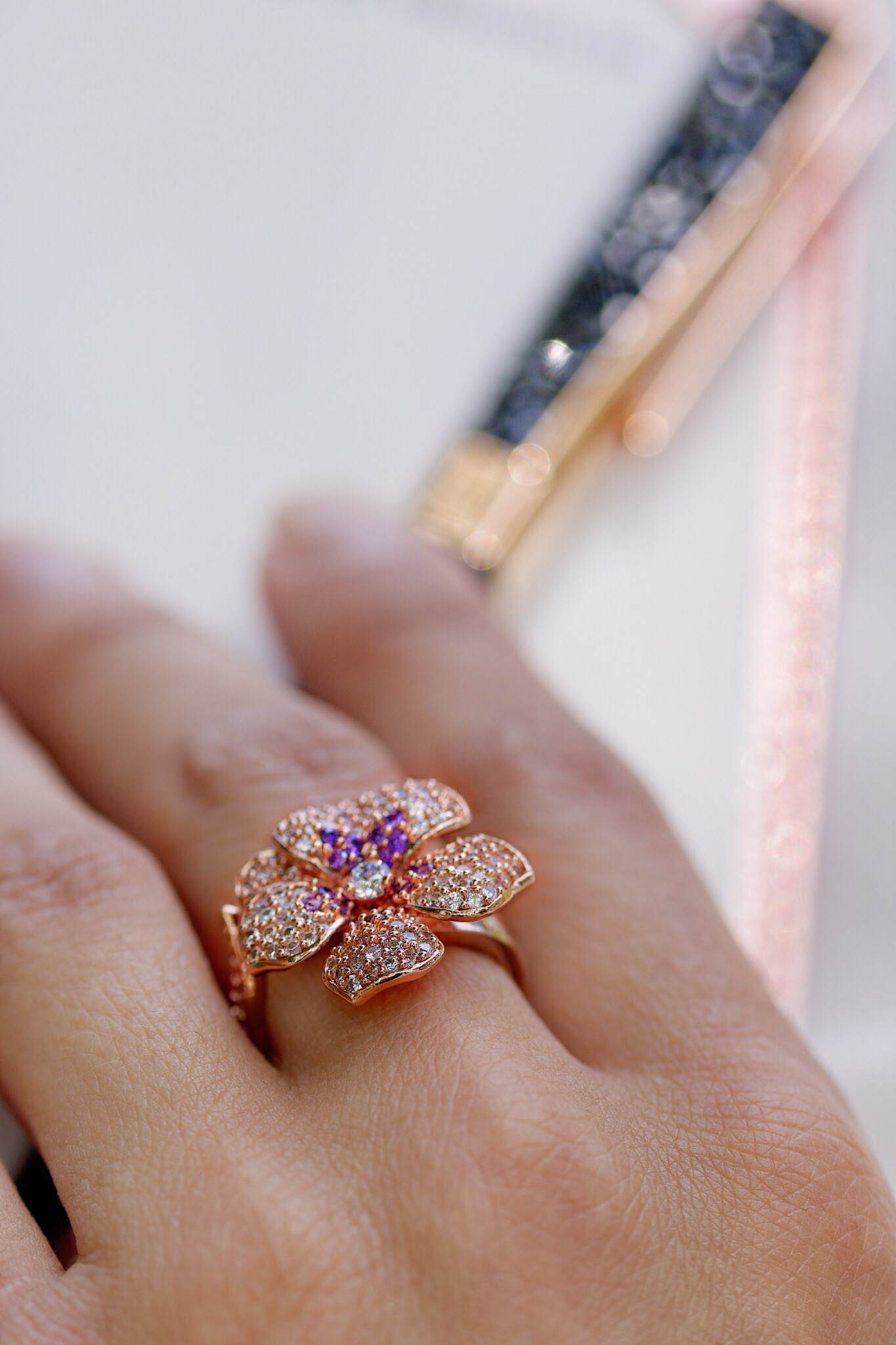 Anemone Adjustable Ring, Rose Gold- Theia