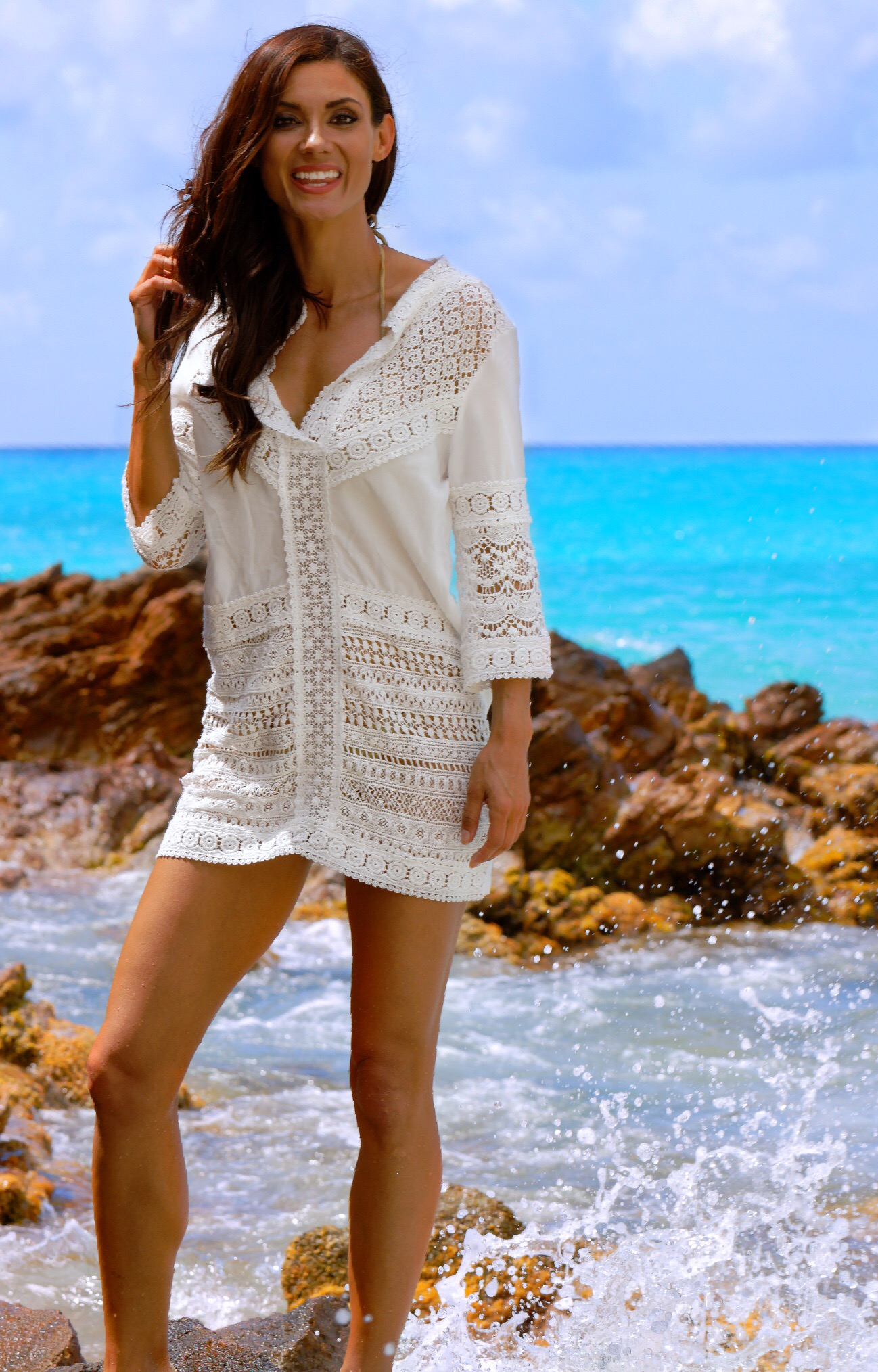 White, Miranda Patchwork Lace Tunic- Ondademar
