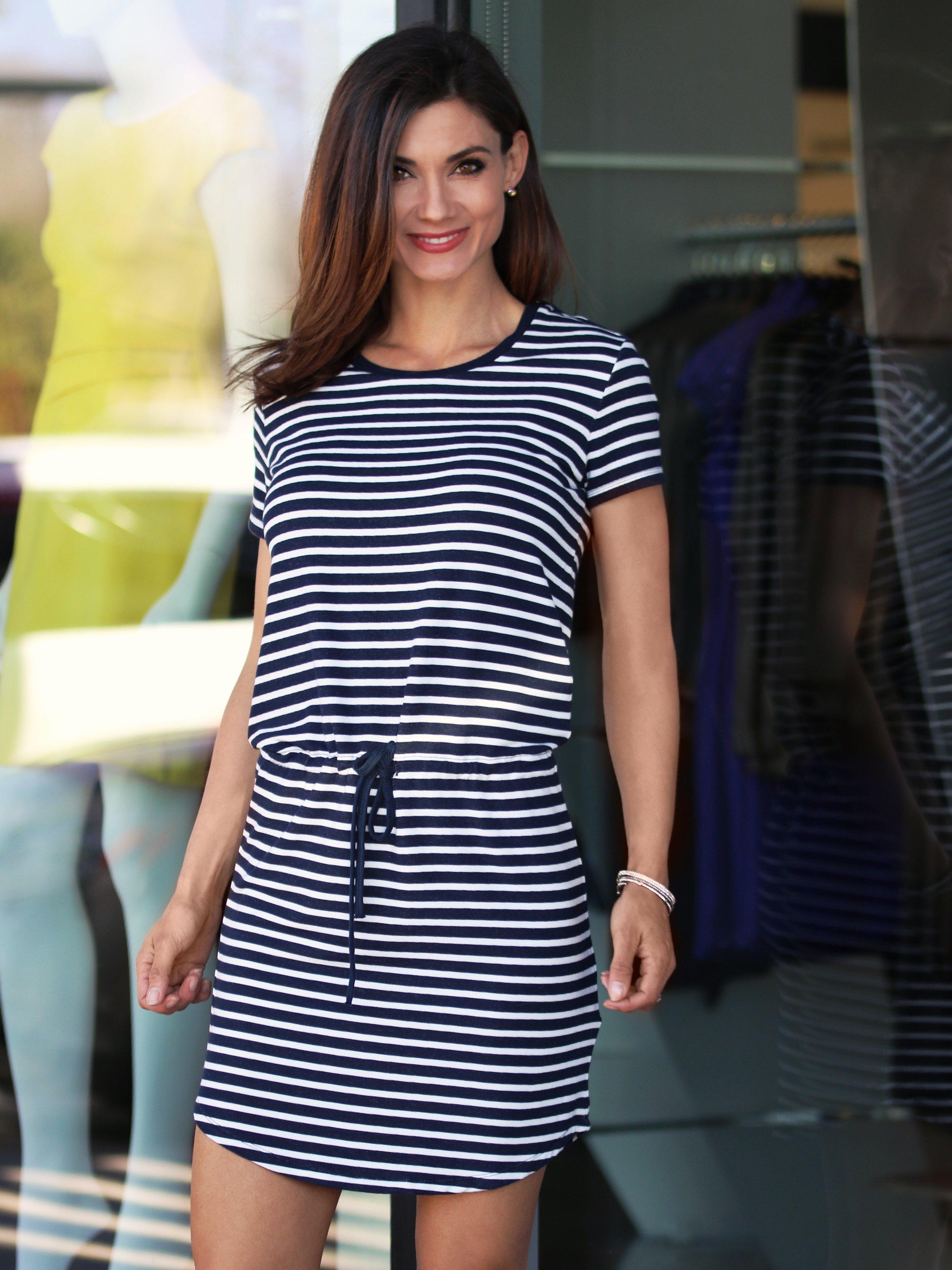 French Terry Stripe S/S Bttn-Shoulder Mini Dress