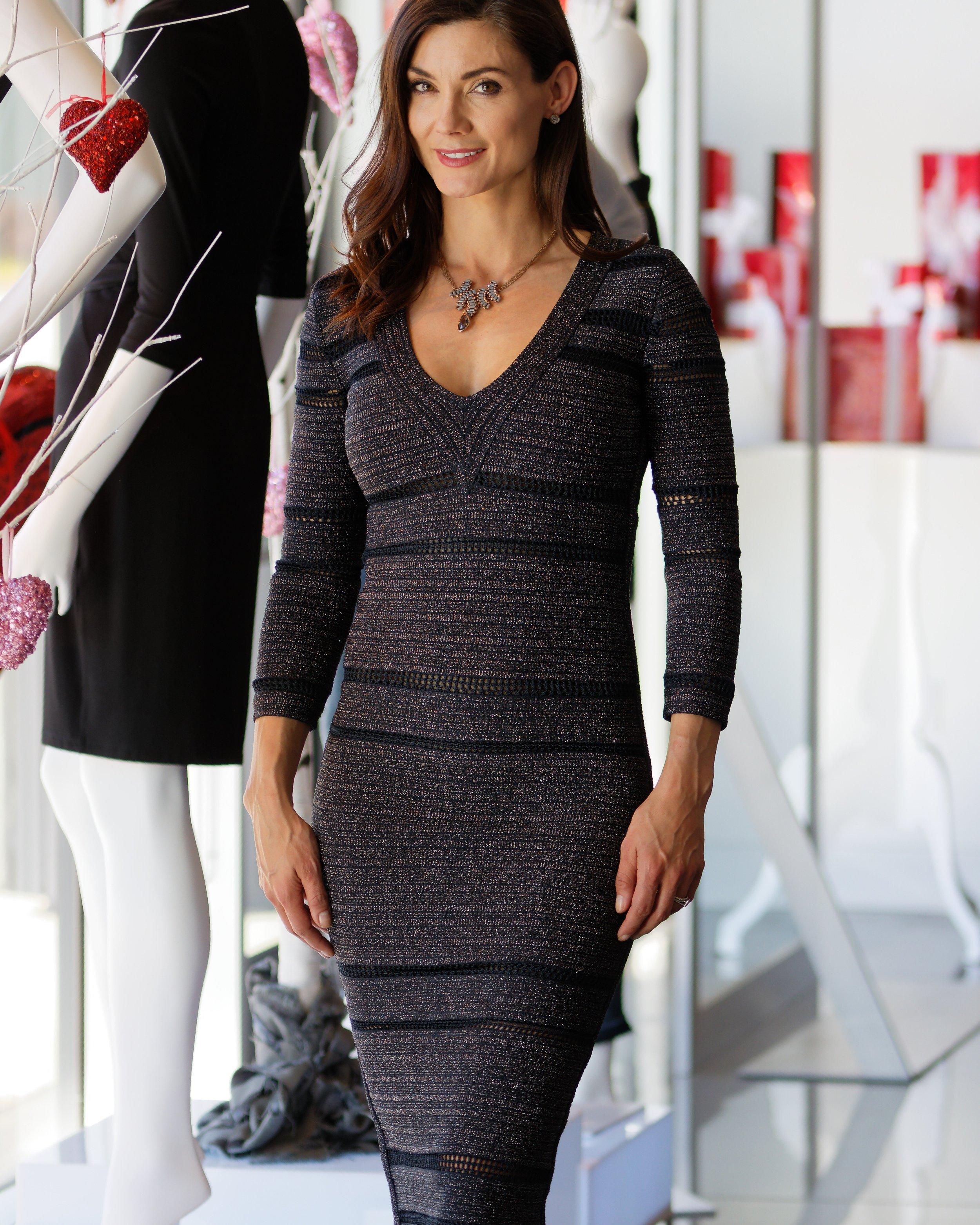Metallic Crochet Stripe Bodycon Dress