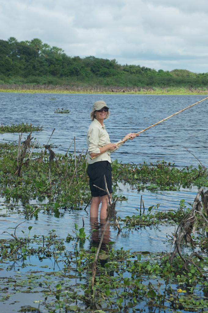 Corinne piranha fishing, Pantanal, Brazil, 21 Apr 2012