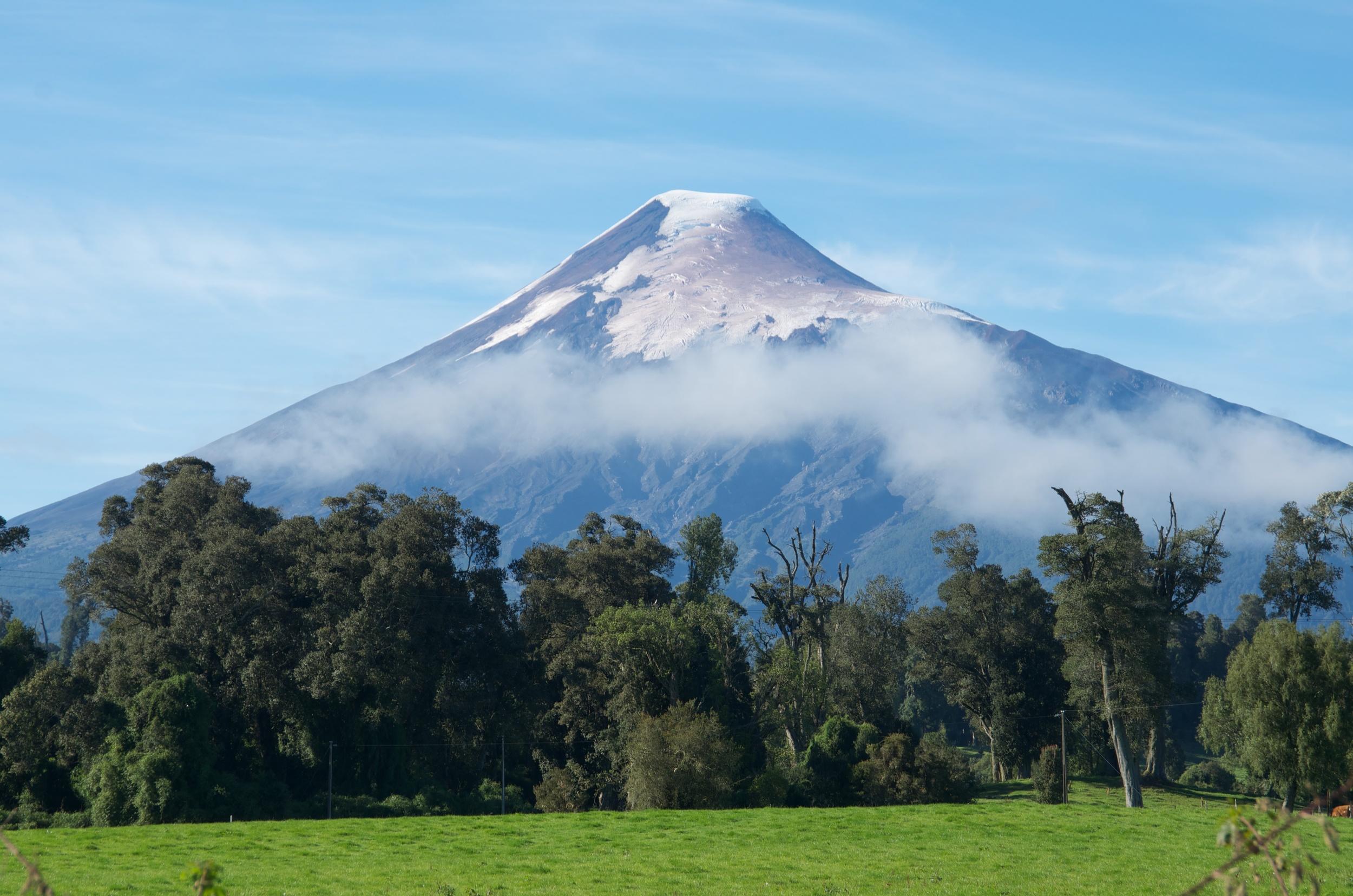 Osorno volcano from road, Lake District, Chile, 28 Mar 2012