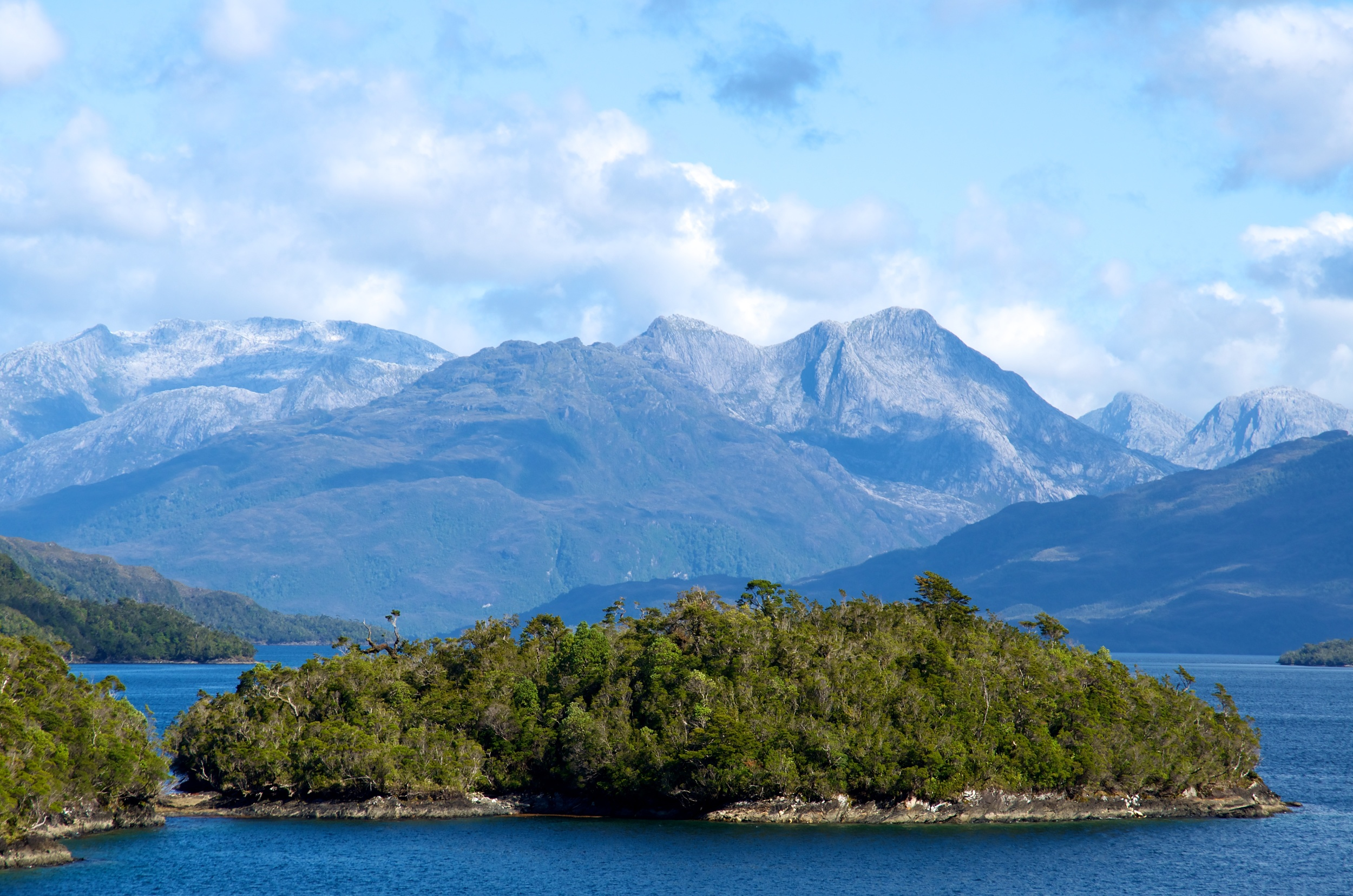 View of Andes from ferry, Chile, 31 Mar 2012