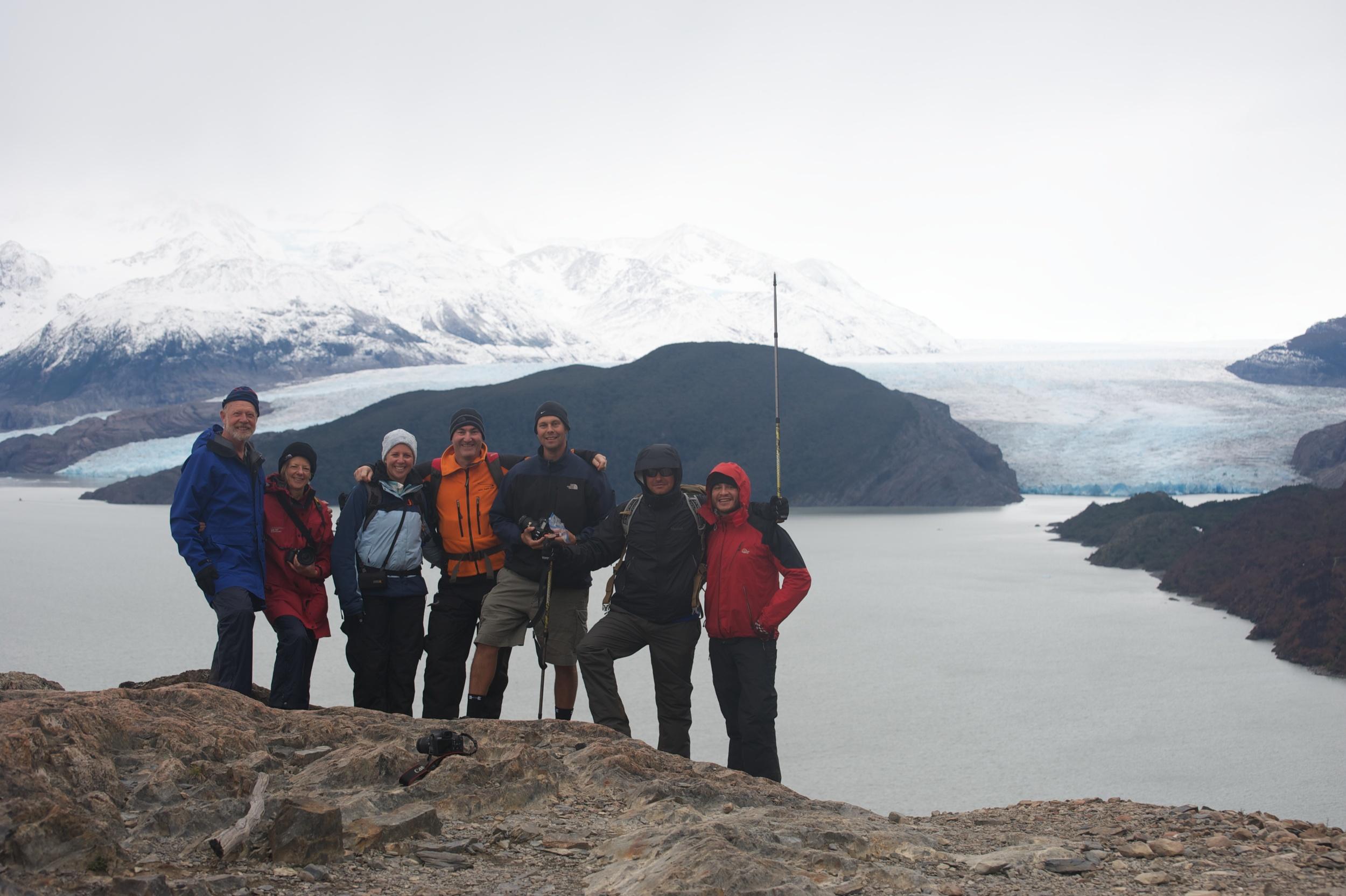 Our tour group at Grey Glacier, Torres del Paine, Patagonia, Chile, 6 Apr 2012