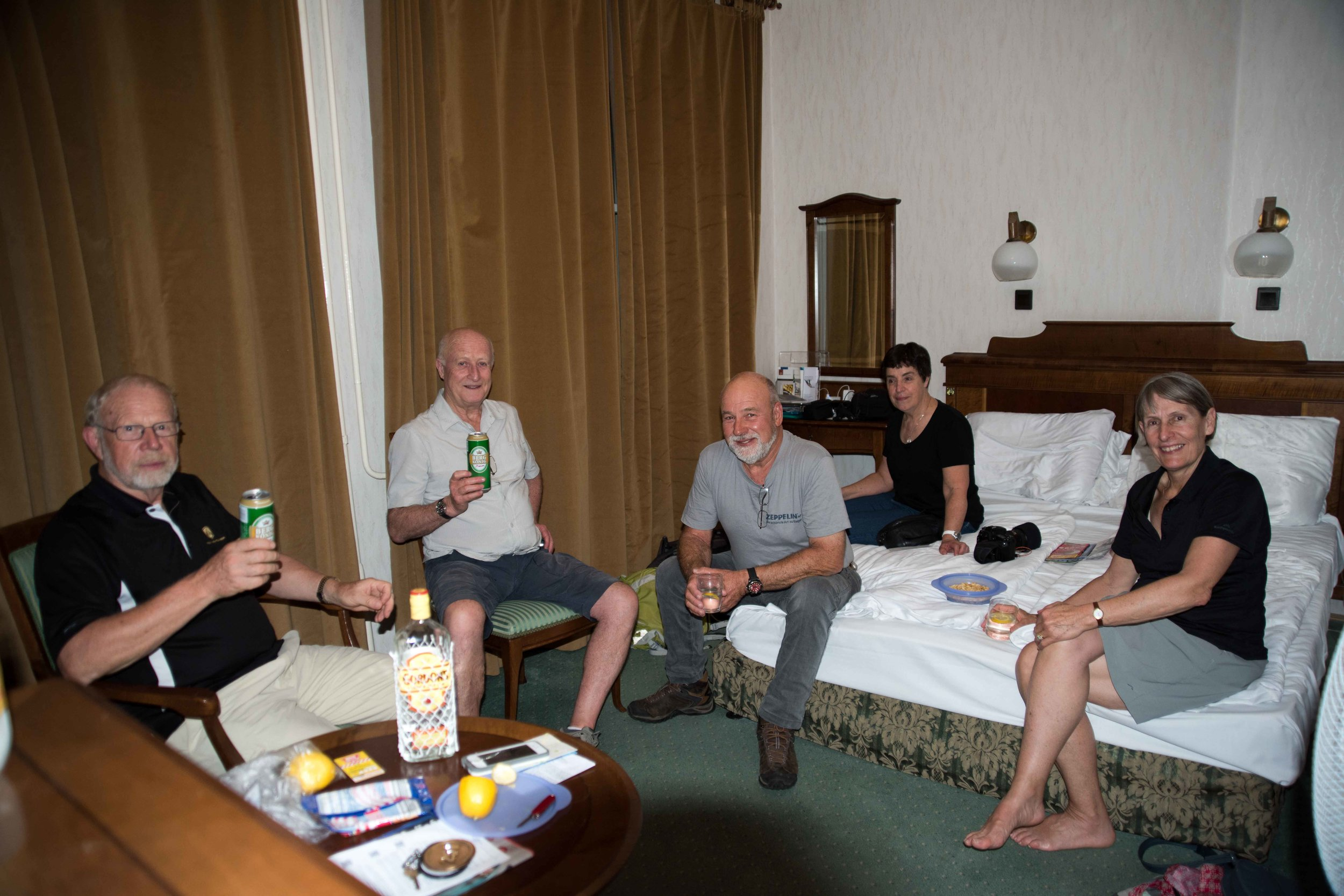 Drinks in our room at Danibius Hotel Gellert, Budapest