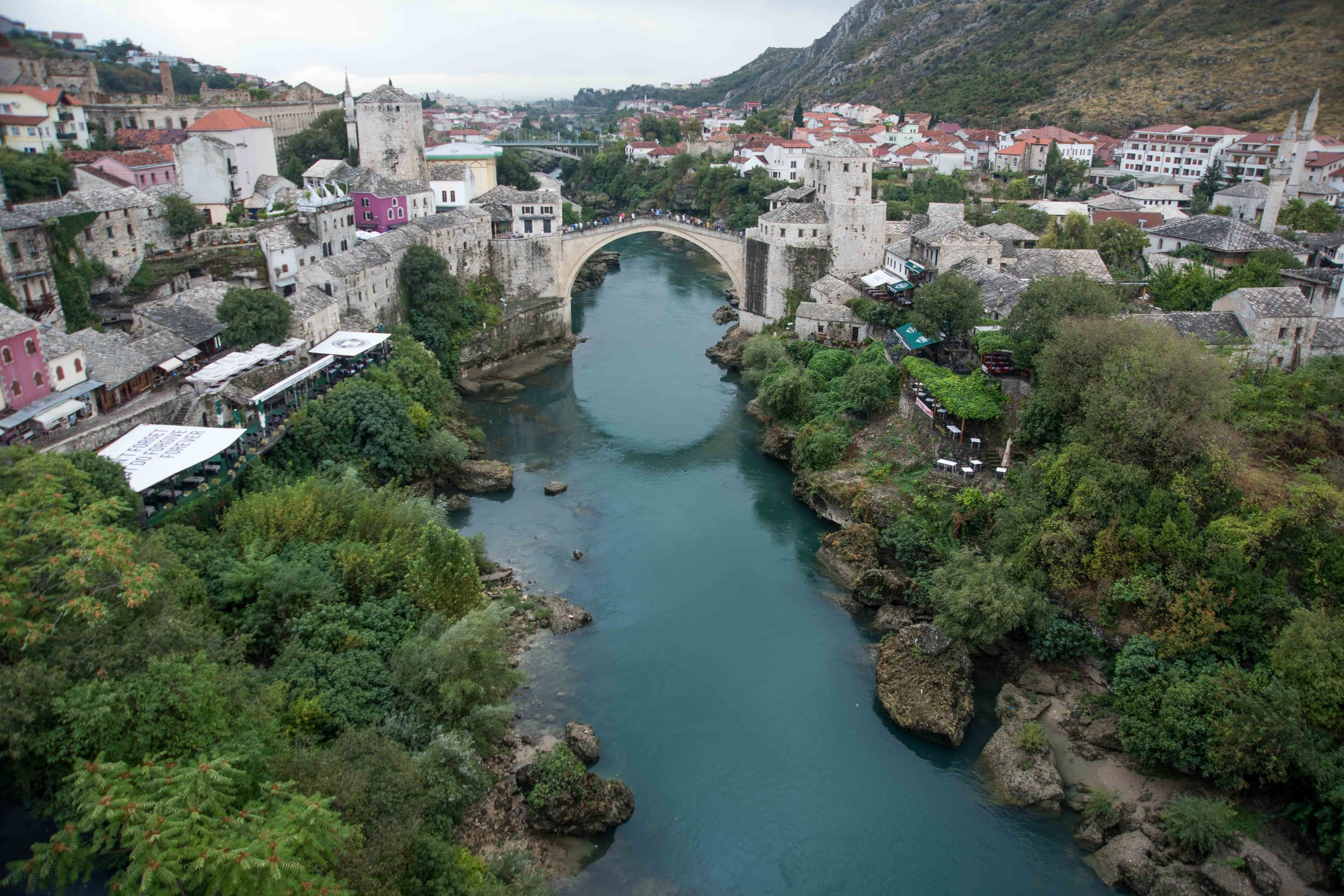Stari Most (Old Bridge) from top of minaret, Mostar,