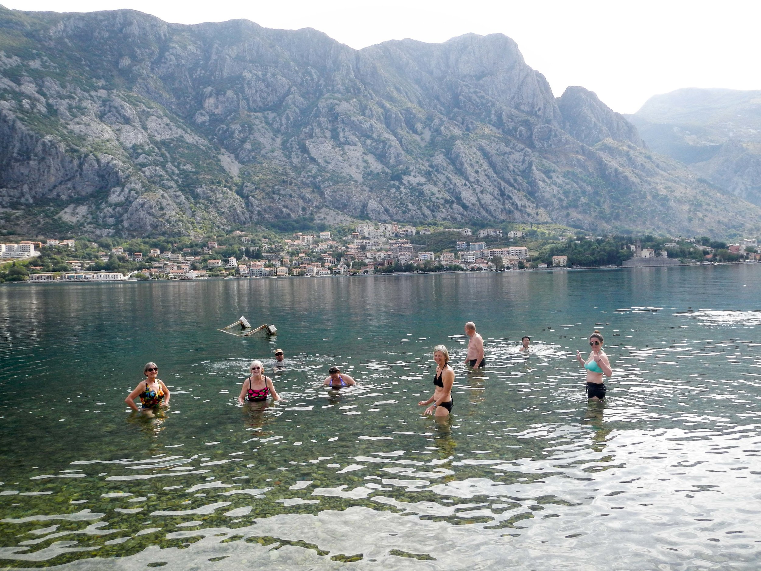 Group swimming, Kotor, Montenegro