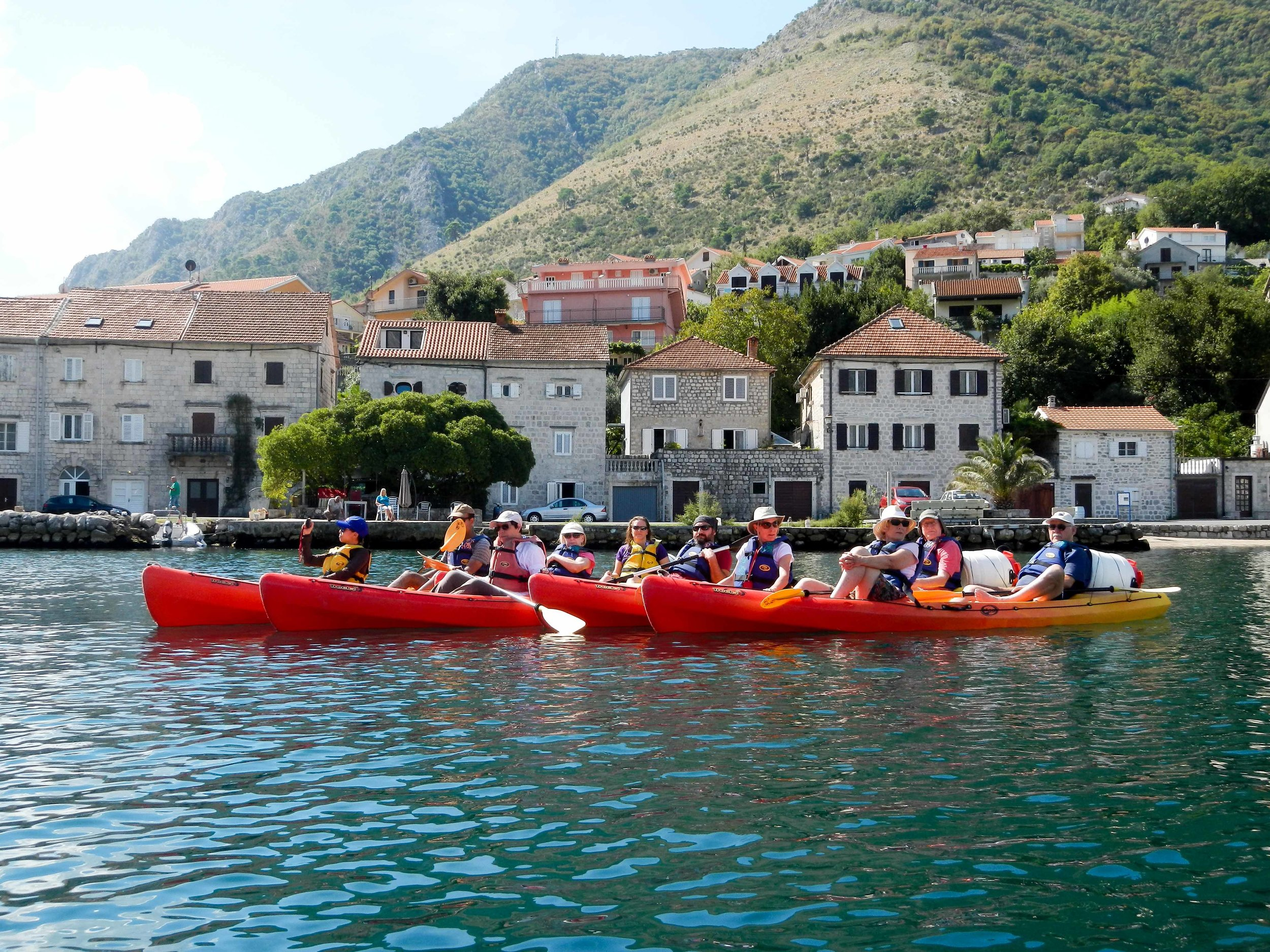 Group kayaking, Kotor, Montenegro