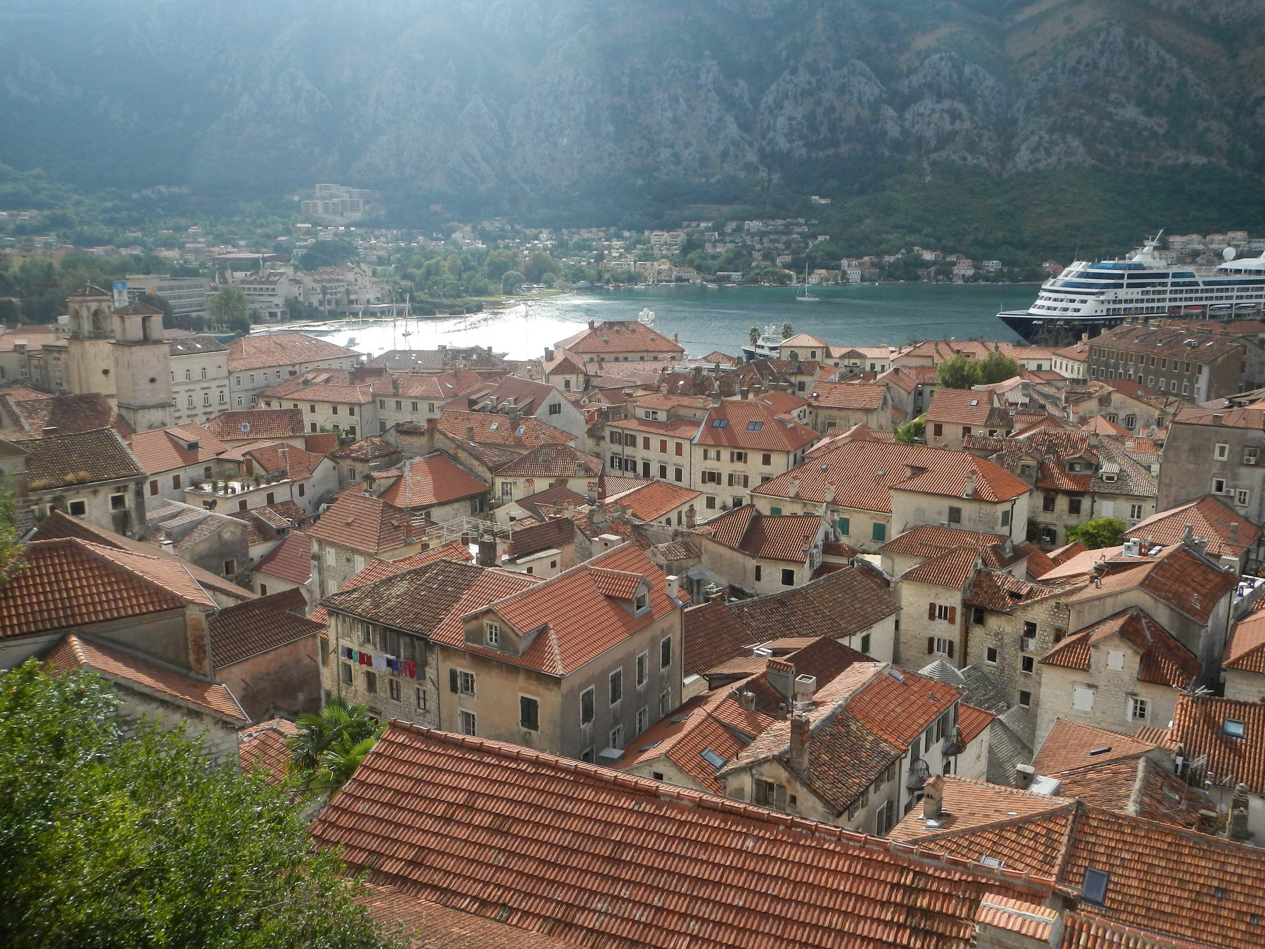 View of old city from fortress walk, Kotor, Montenegro
