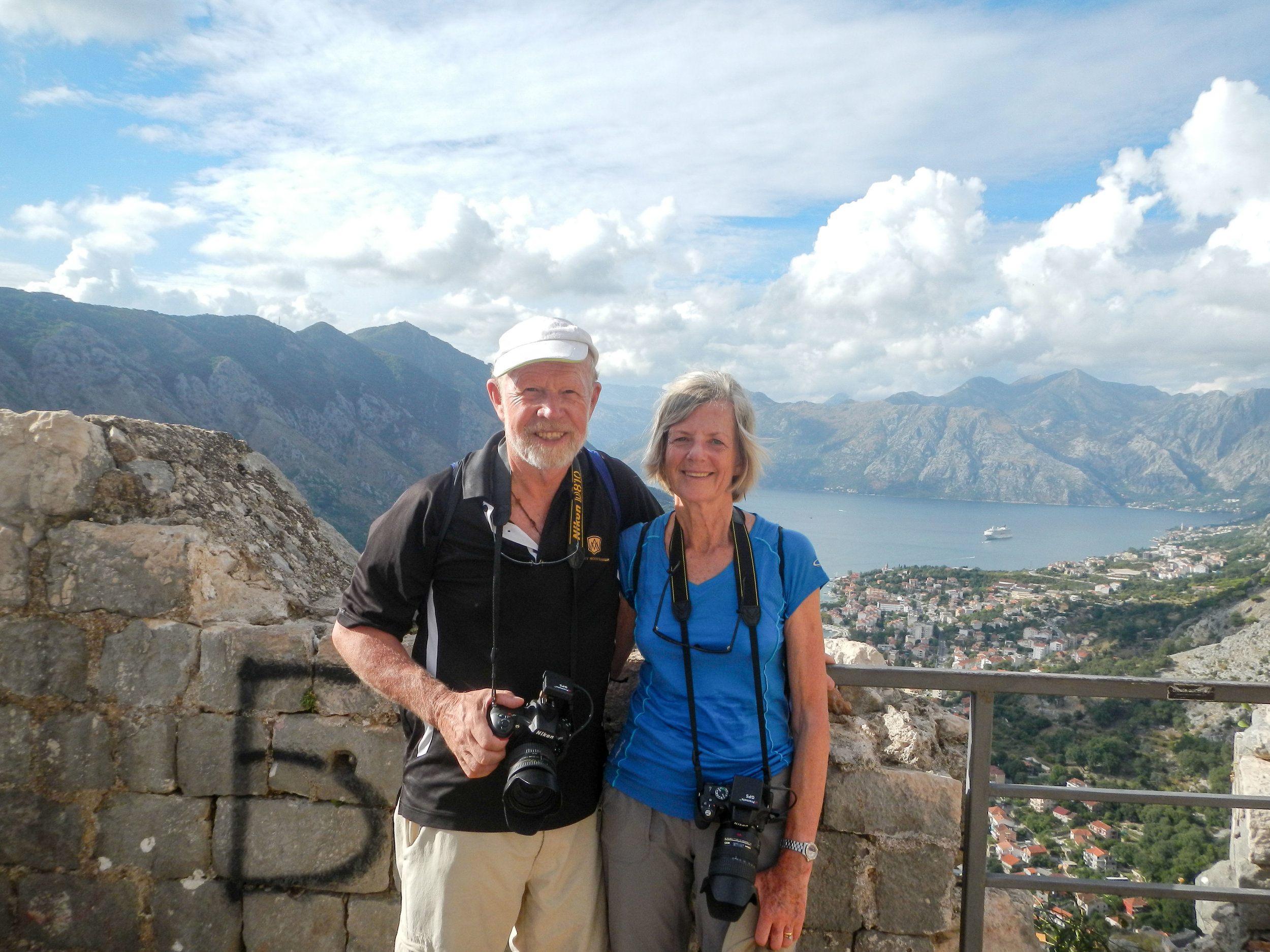 Jak & Corinne at top, fortress walk, Kotor, Montenegro