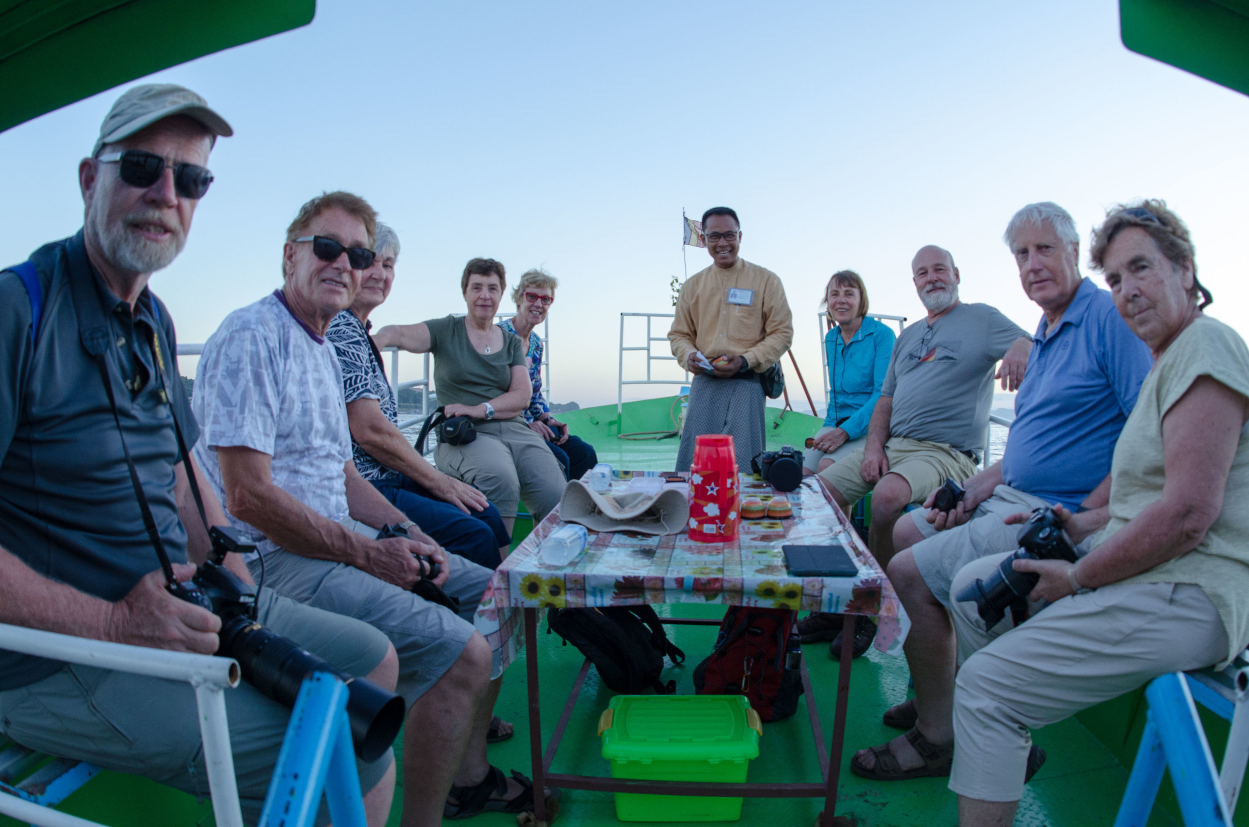 Our group on sunset cruise 001, Irrawaddy River, Bagan, Myanmar, 19 Nov 2017.jpg