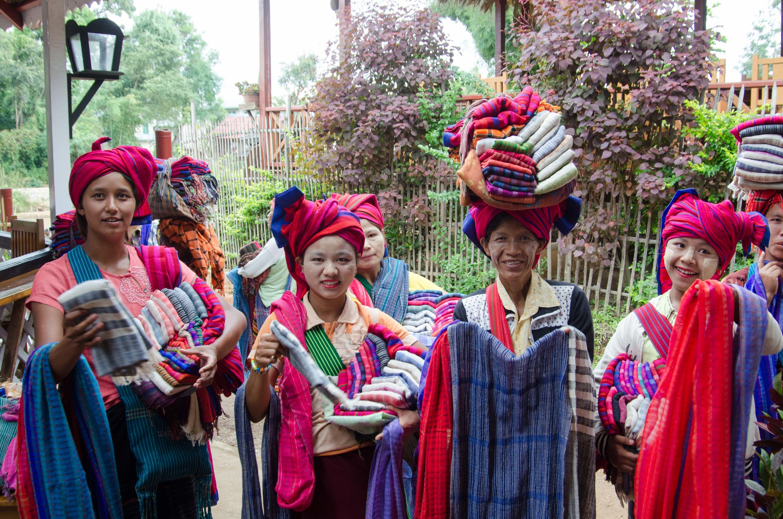 Women selling scarves in Indein