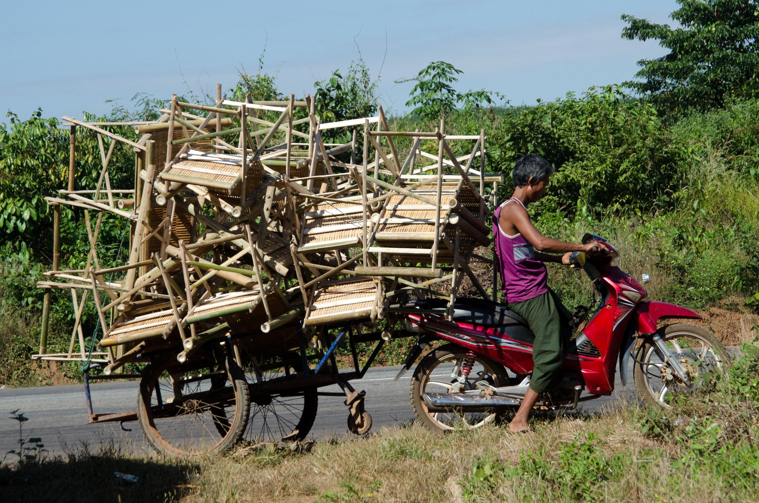 Carting bamboo furniture 001, en route to Yangon, Myanmar, 25 Nov 2017.jpg