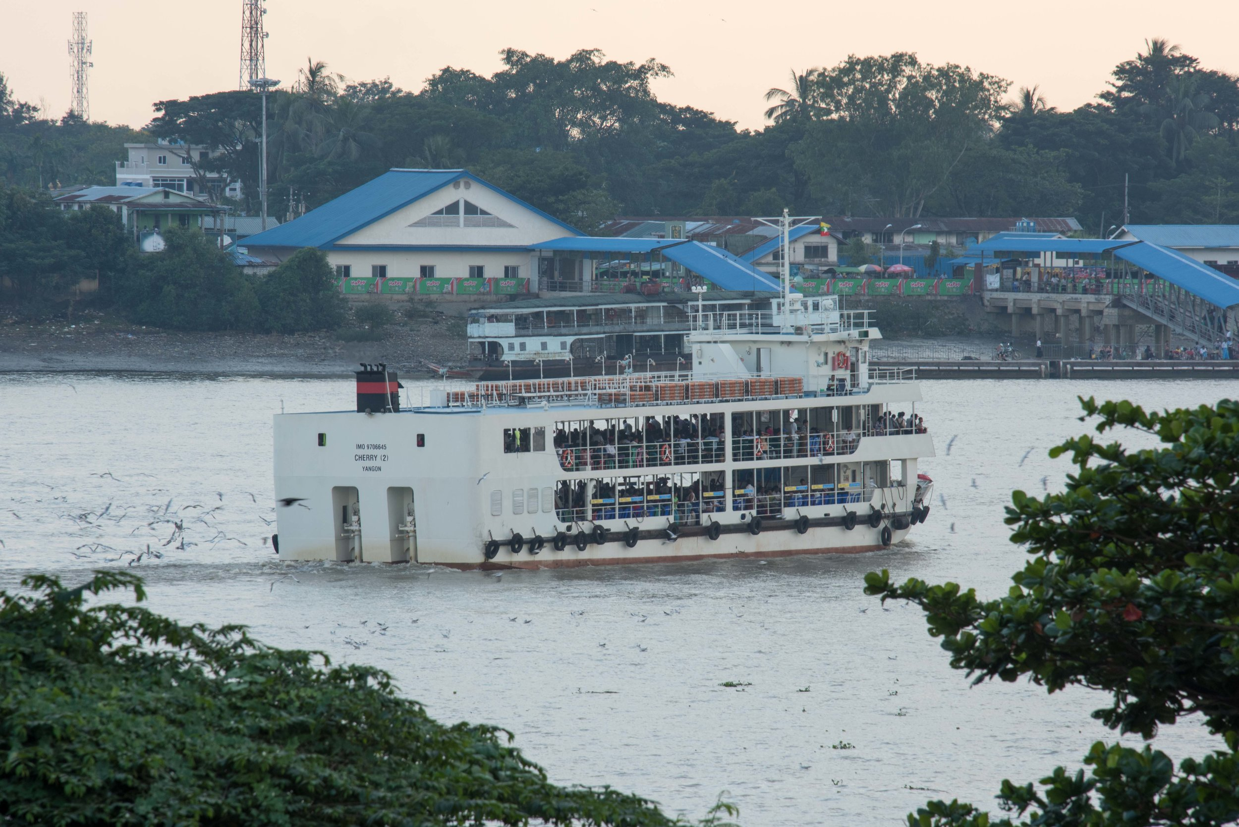 Ferry on river 002, Colonial area, Yangon, Myanmar, 26 Nov 2017.jpg