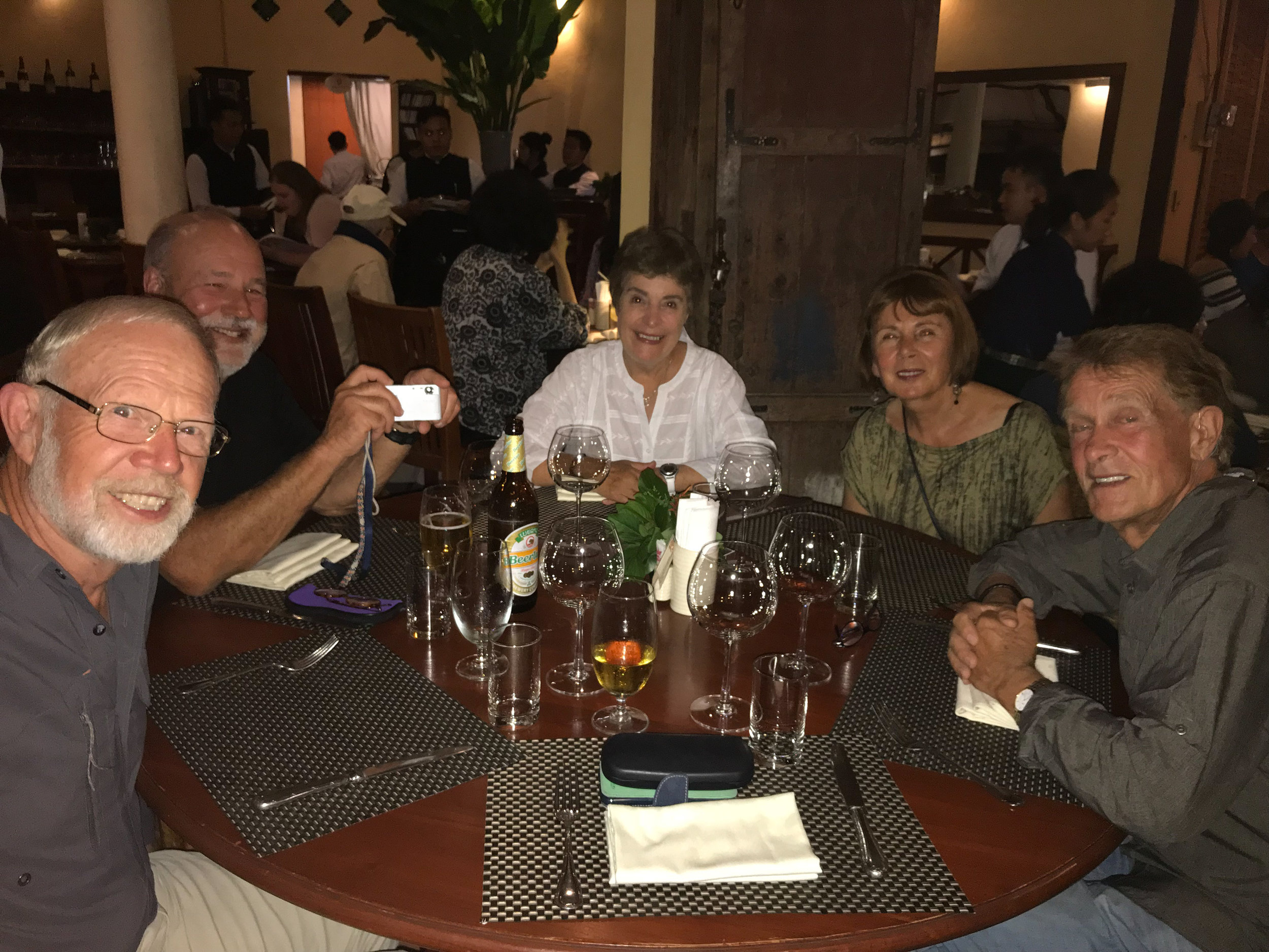 Tony, Chris, Diana, Janet & Sinclair, dinner at L'Elephant Restaurant, Luang Prabang, Laos, 1 Dec 2017.jpg