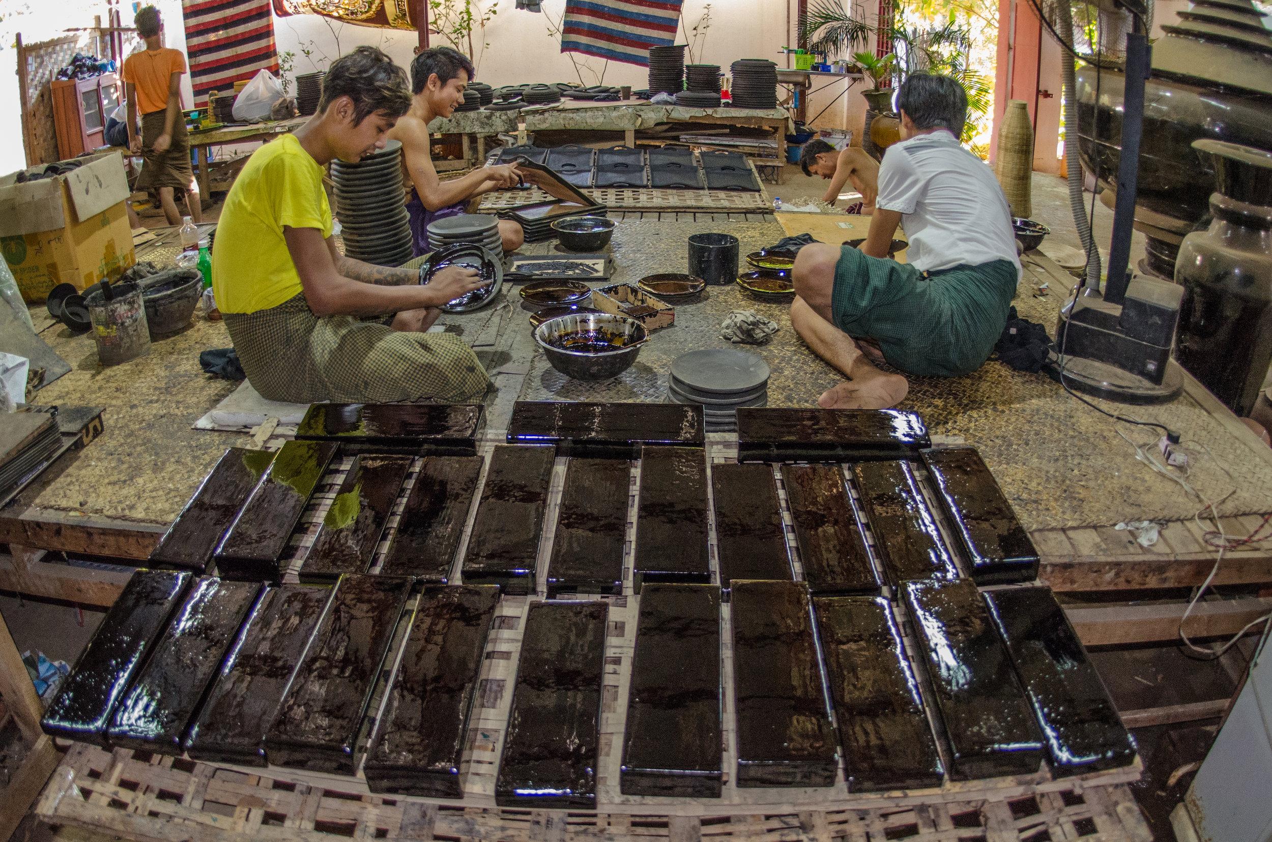 Lacquer-ware factory, Bagan, Myanmar