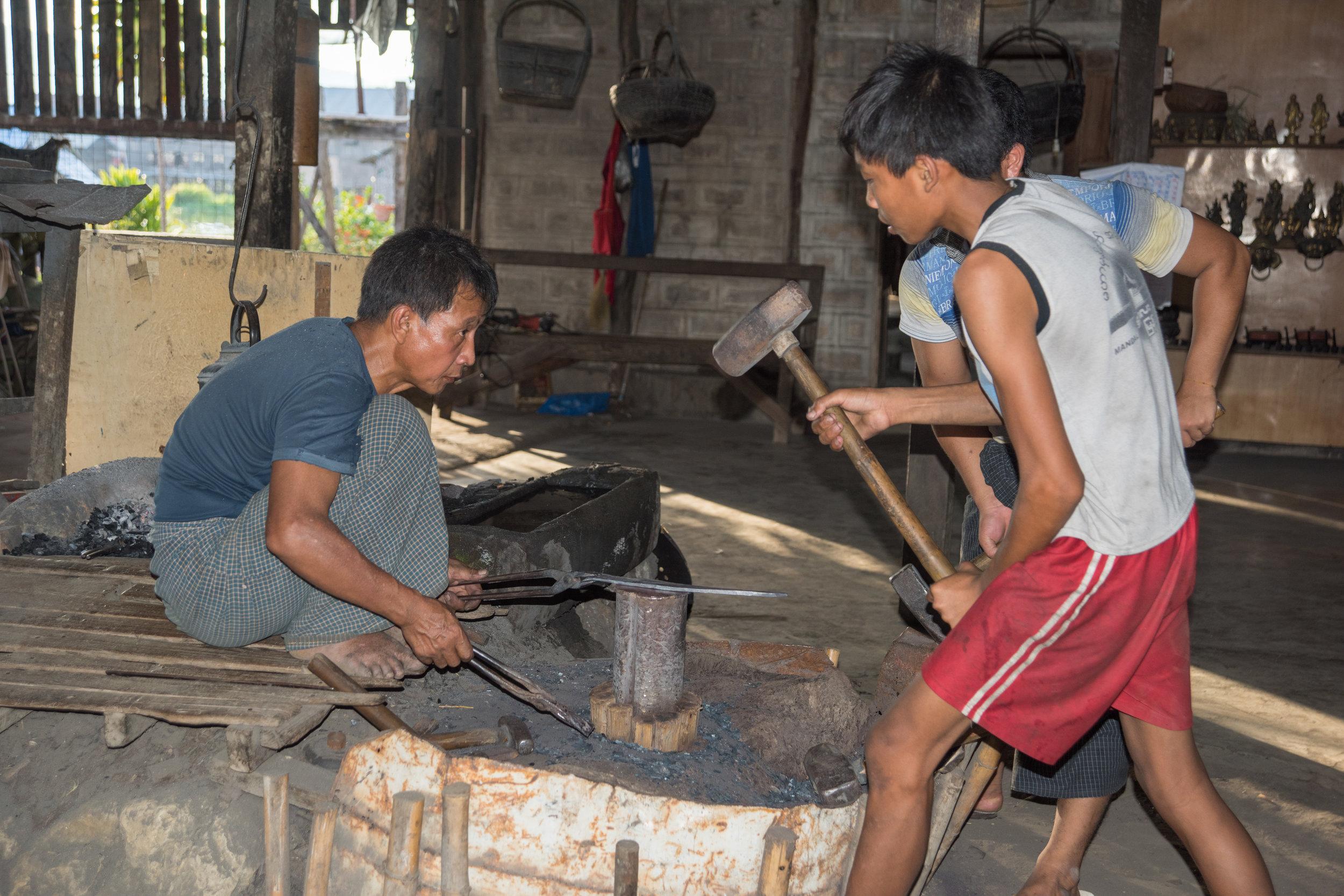 Blacksmith's shop, Inle Lake, Myanmar