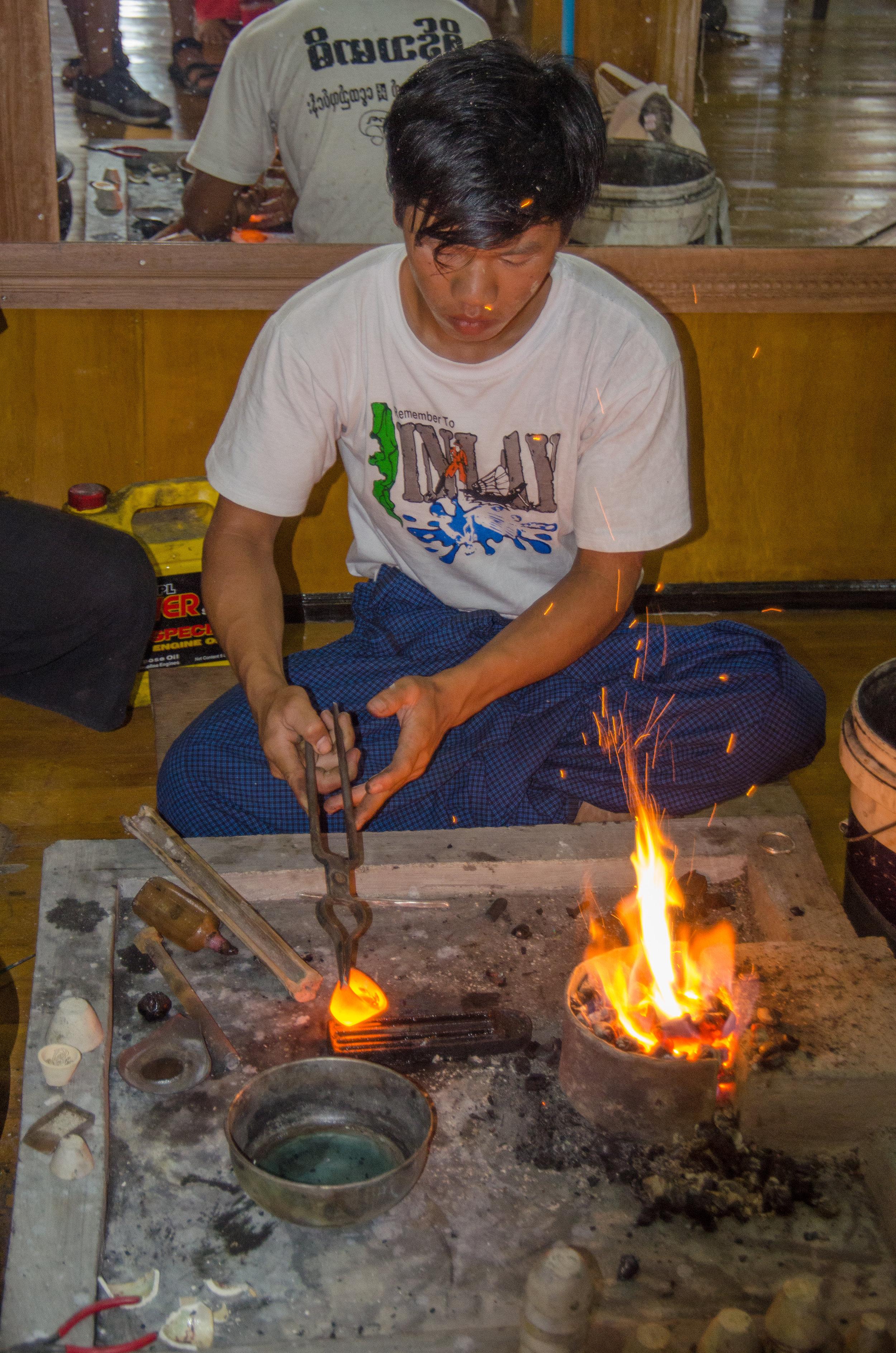 Silversmith, Sein Thamadi Silversmith Workshop, Inle Lake, Myanmar