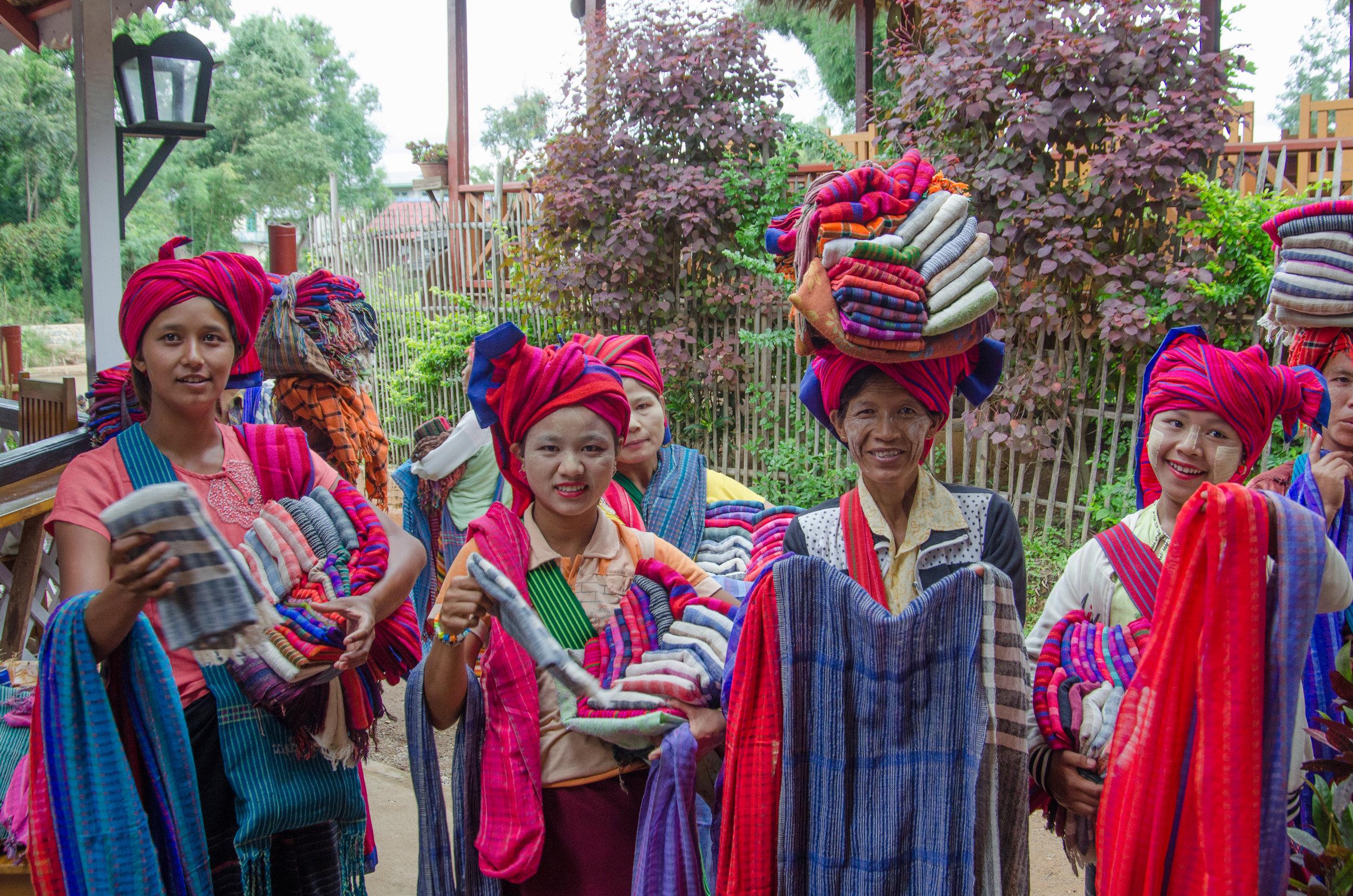 Women selling scarves, Indein, Myanmar
