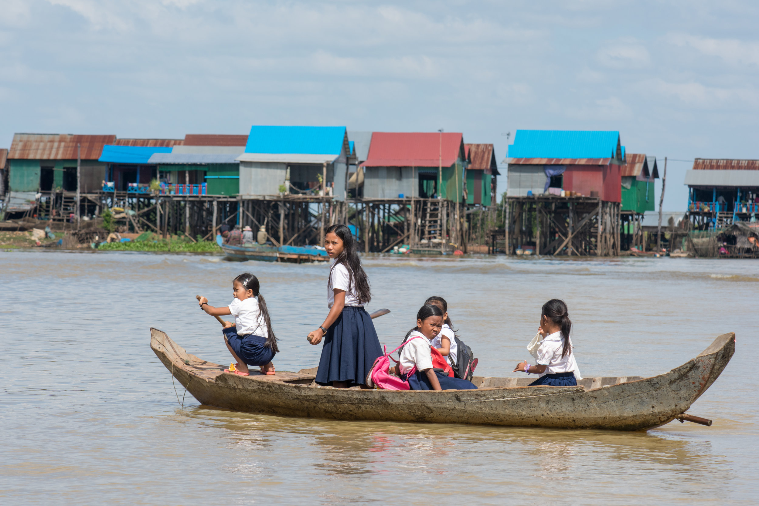 School girls, Chong Kneas village, Cambodia